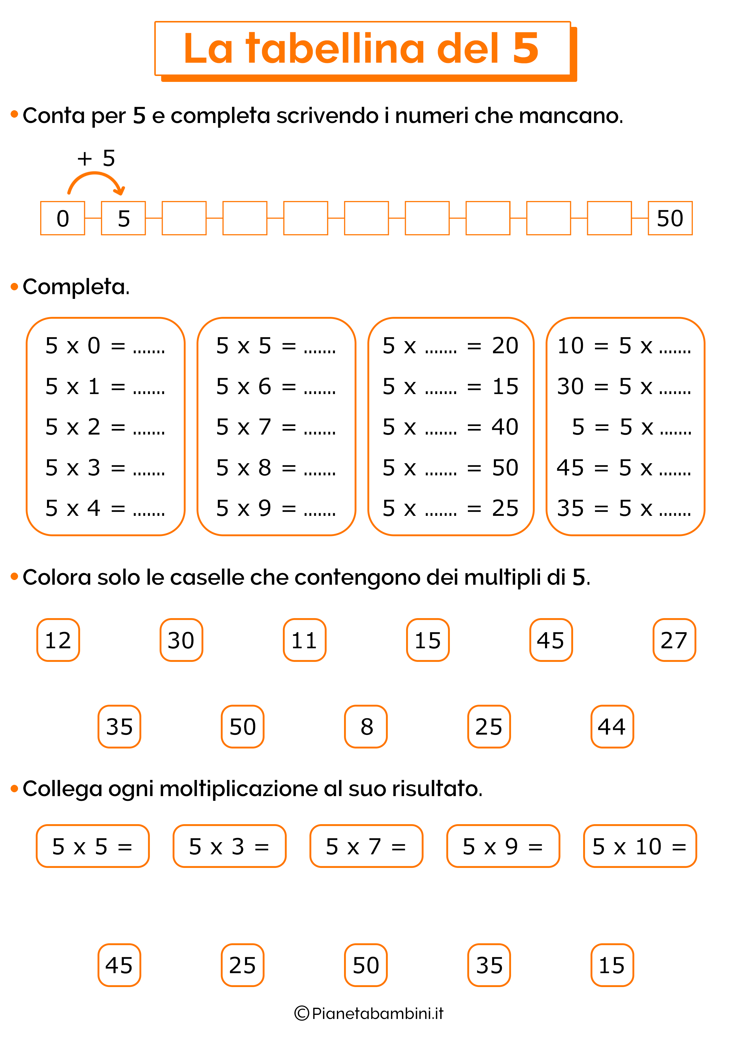 Esercizi sulla tabellina del 5