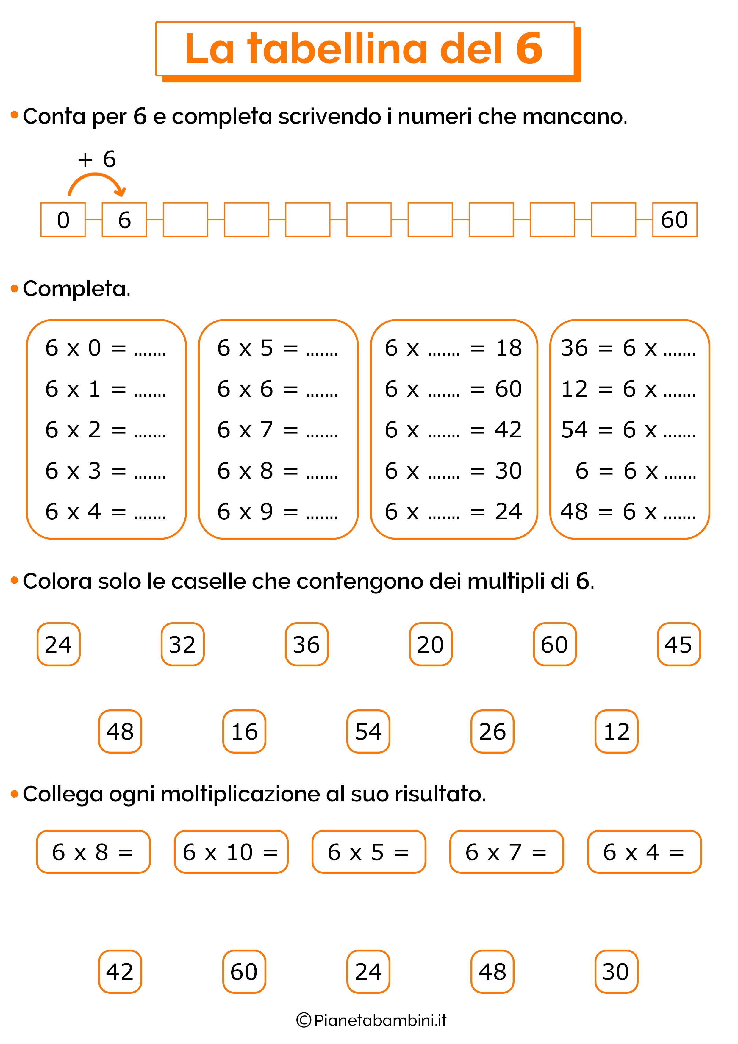 Esercizi sulla tabellina del 6