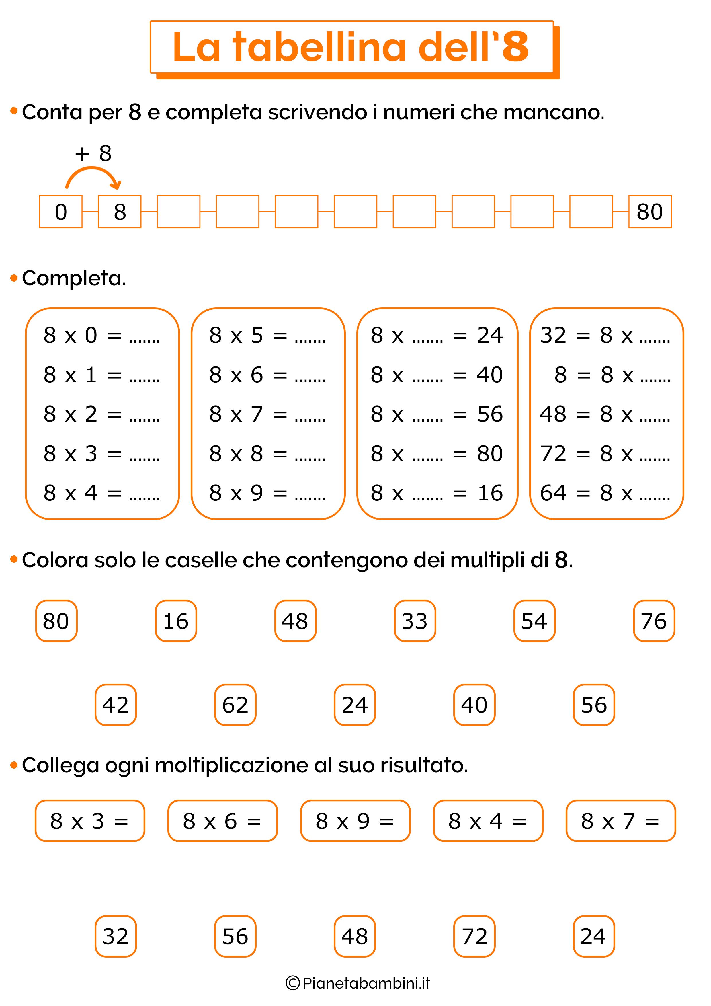 Esercizi sulla tabellina del 8