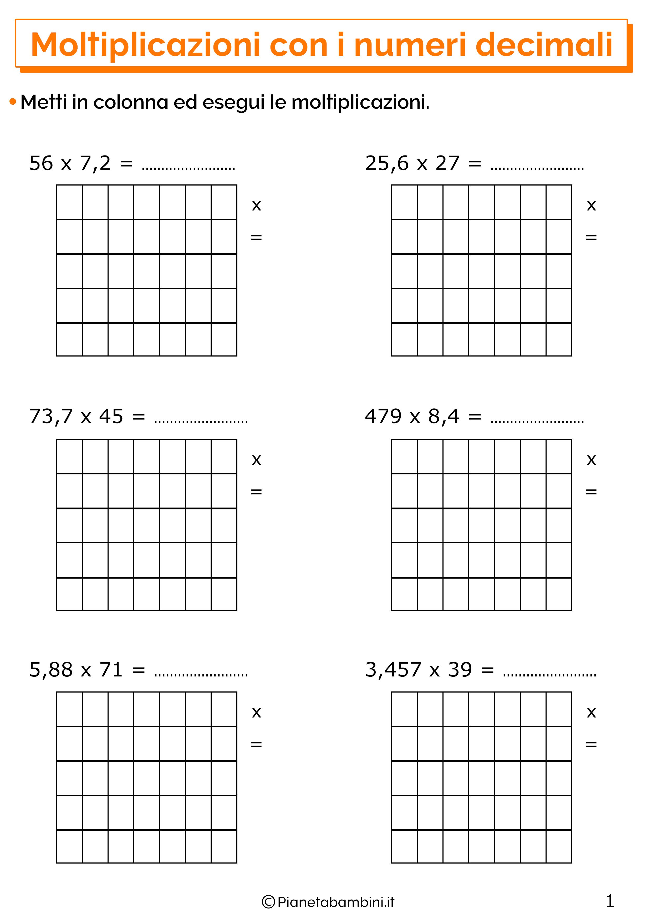 Esercizi sulle moltiplicazioni con i numeri decimali 1