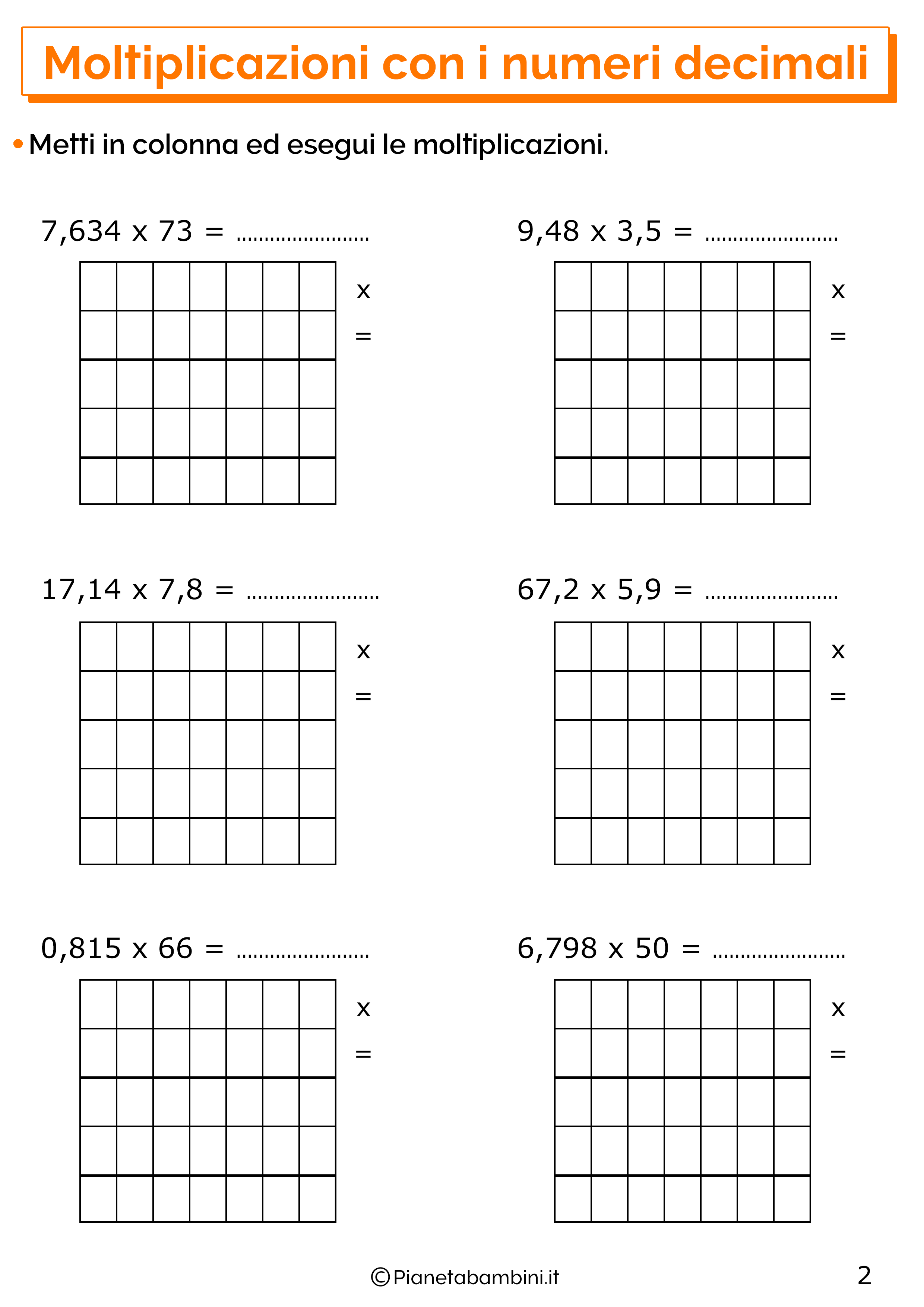 Esercizi sulle moltiplicazioni con i numeri decimali 2
