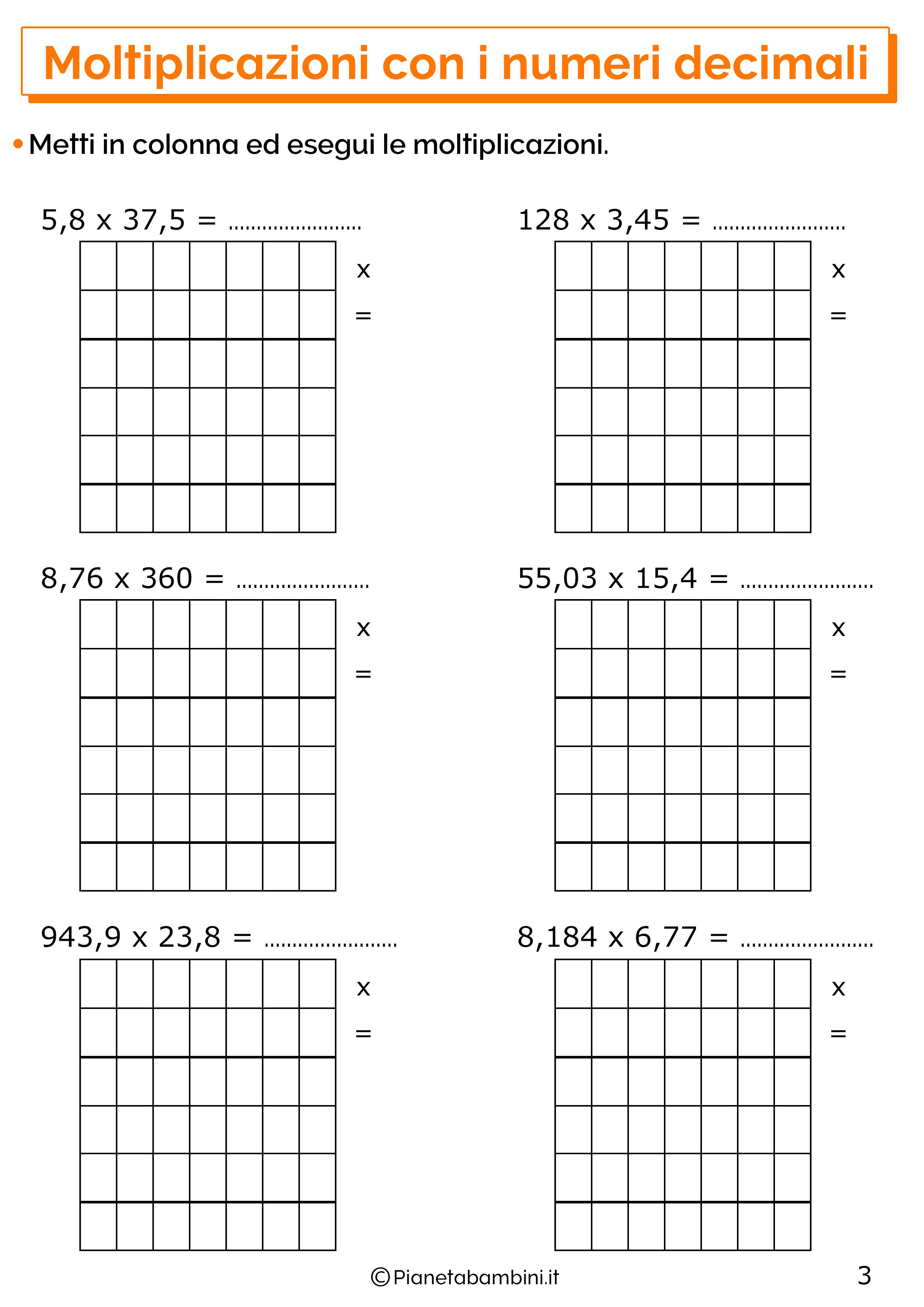 Esercizi sulle moltiplicazioni con i numeri decimali 3