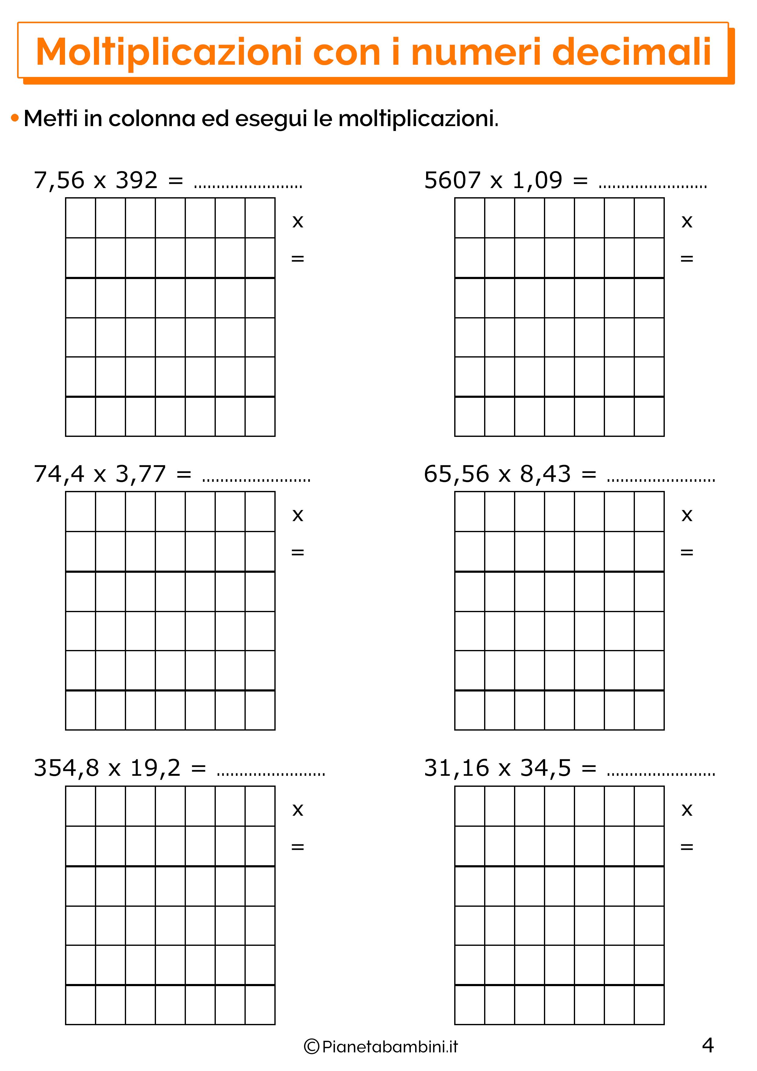 Esercizi sulle moltiplicazioni con i numeri decimali 4
