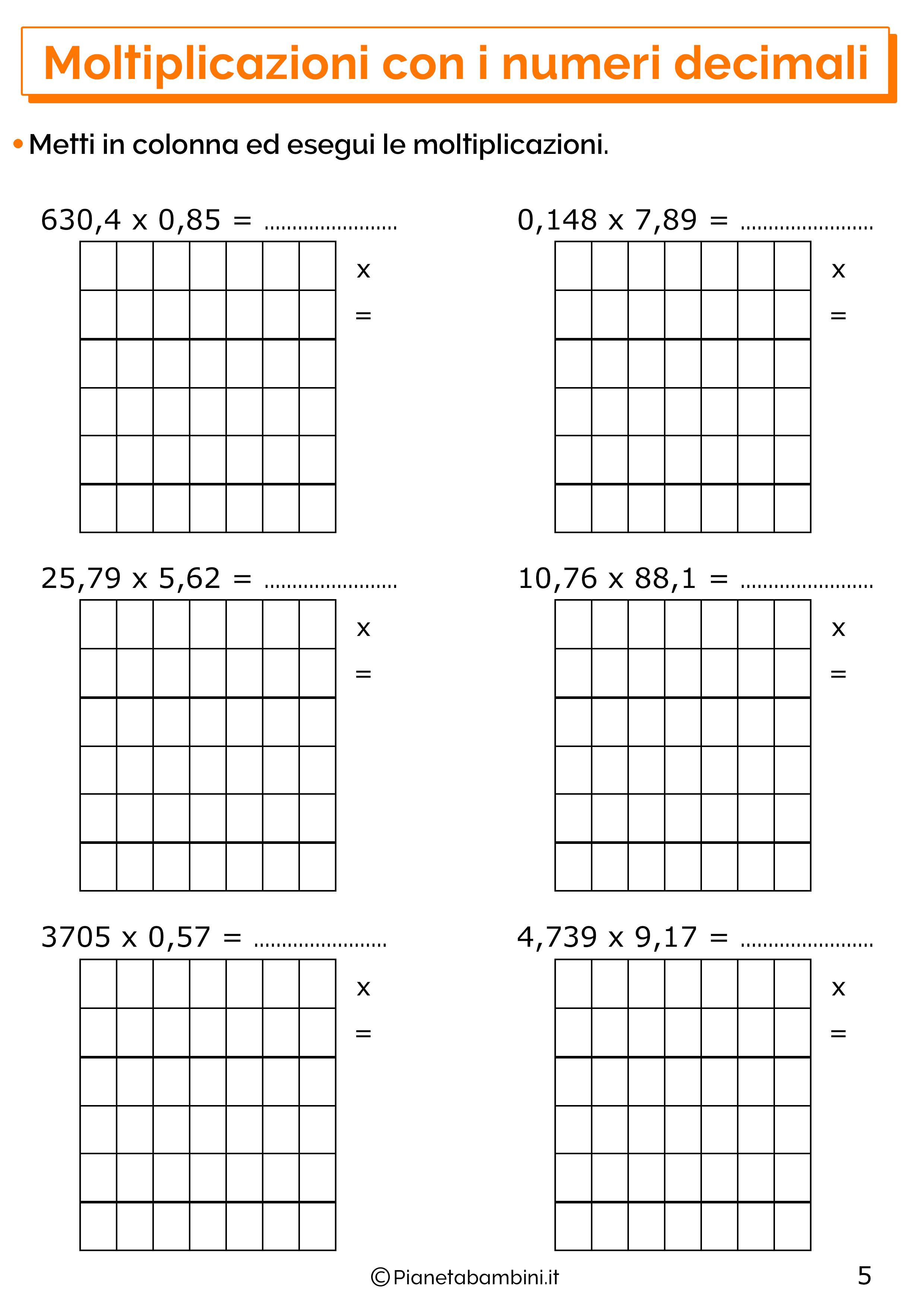 Esercizi sulle moltiplicazioni con i numeri decimali 5