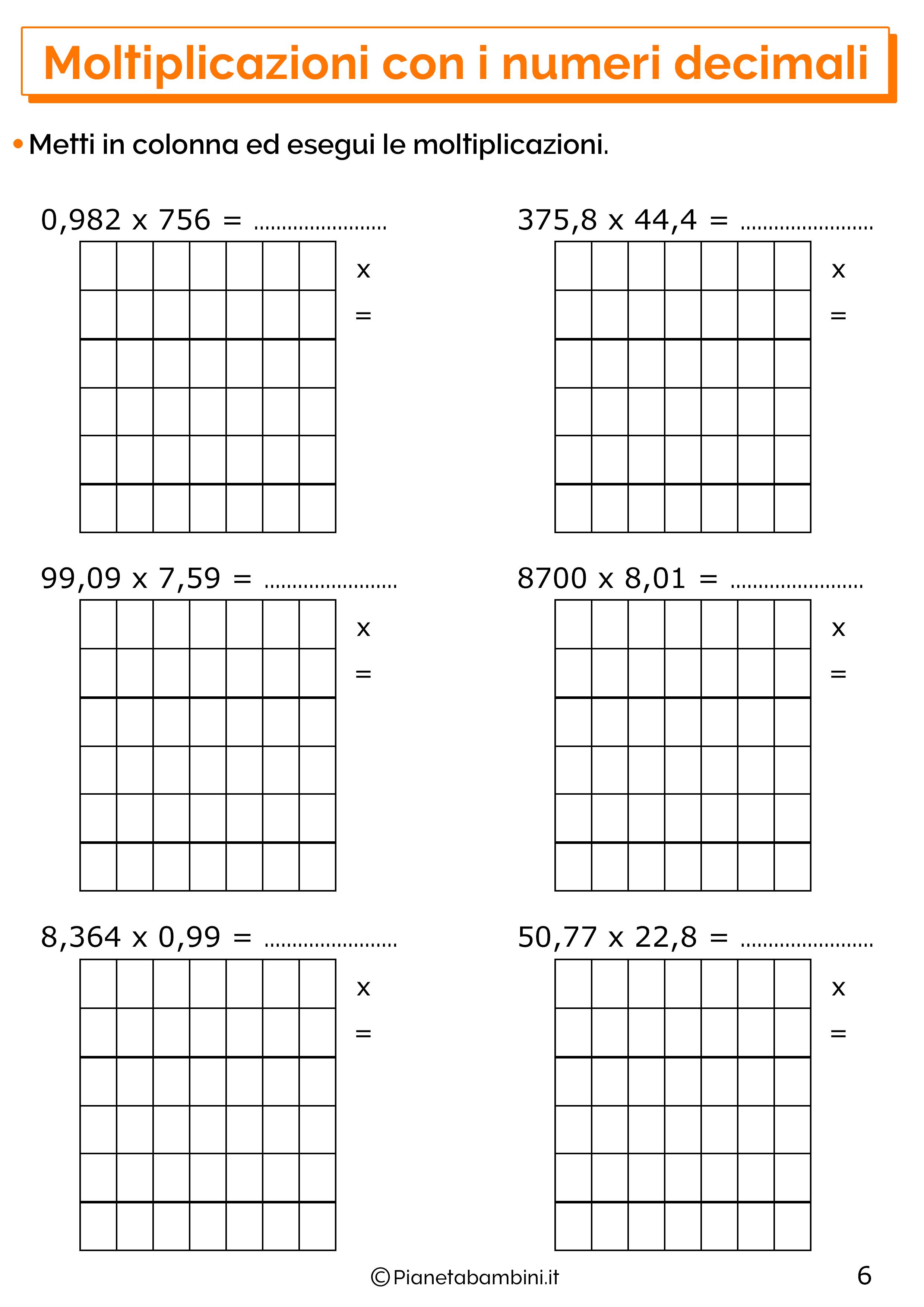 Esercizi sulle moltiplicazioni con i numeri decimali 6