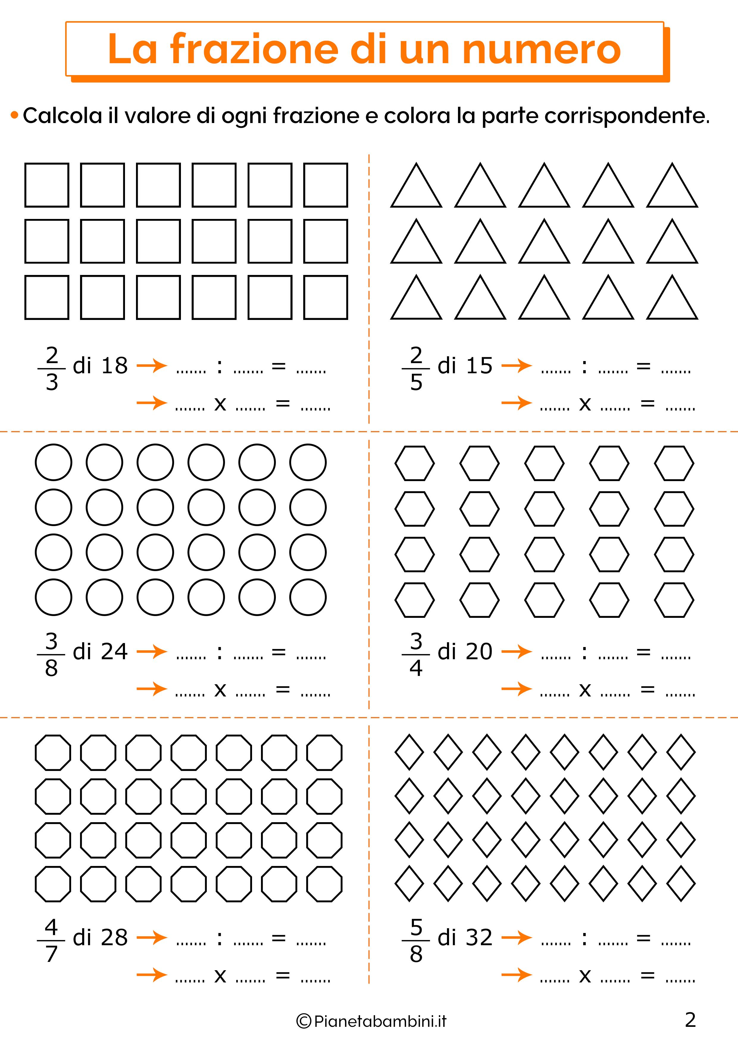 Esercizi sulla frazione di un numero 2