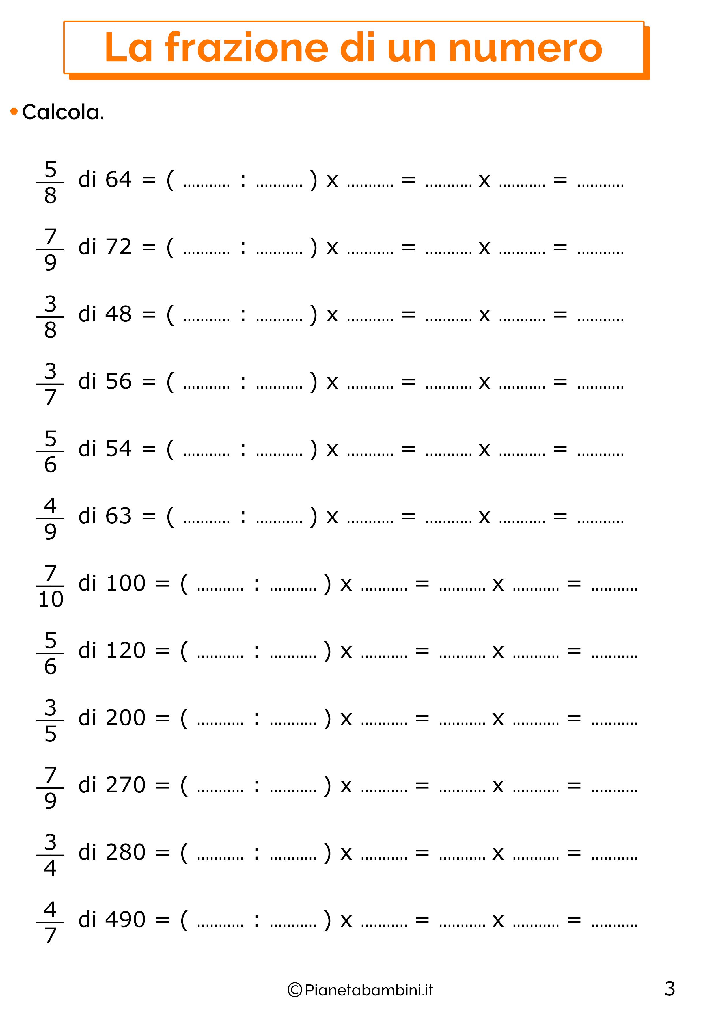 Esercizi sulla frazione di un numero 3