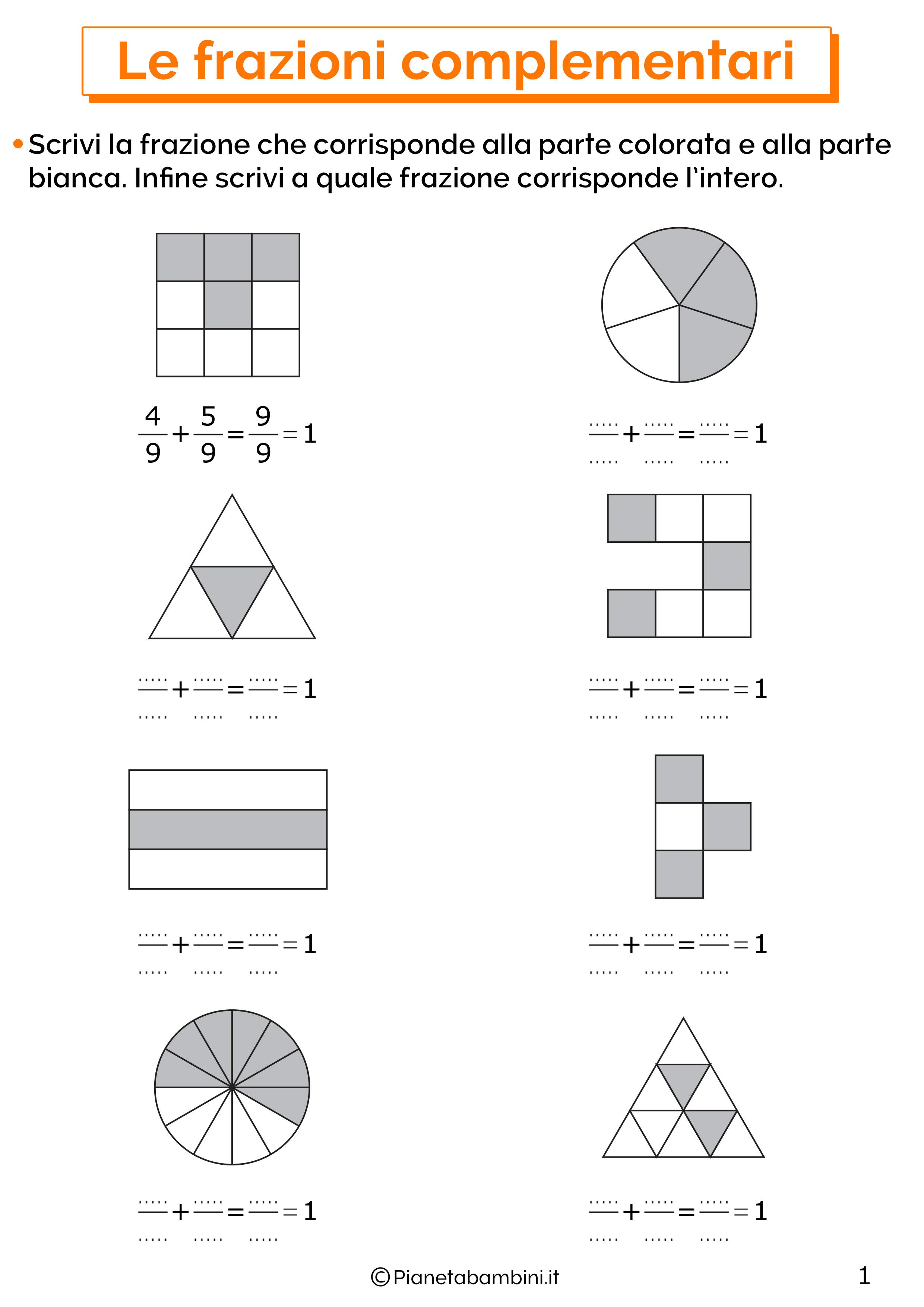 Esercizi sulle frazioni complementari 1