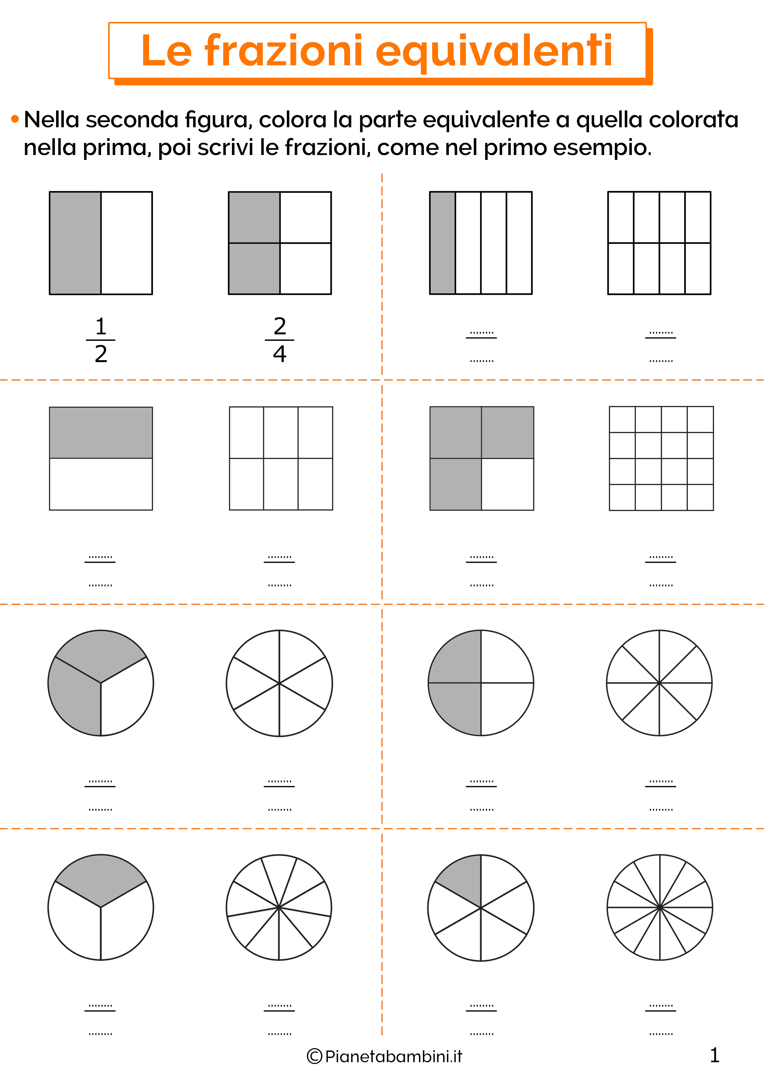 Esercizi sulle frazioni equivalenti 1