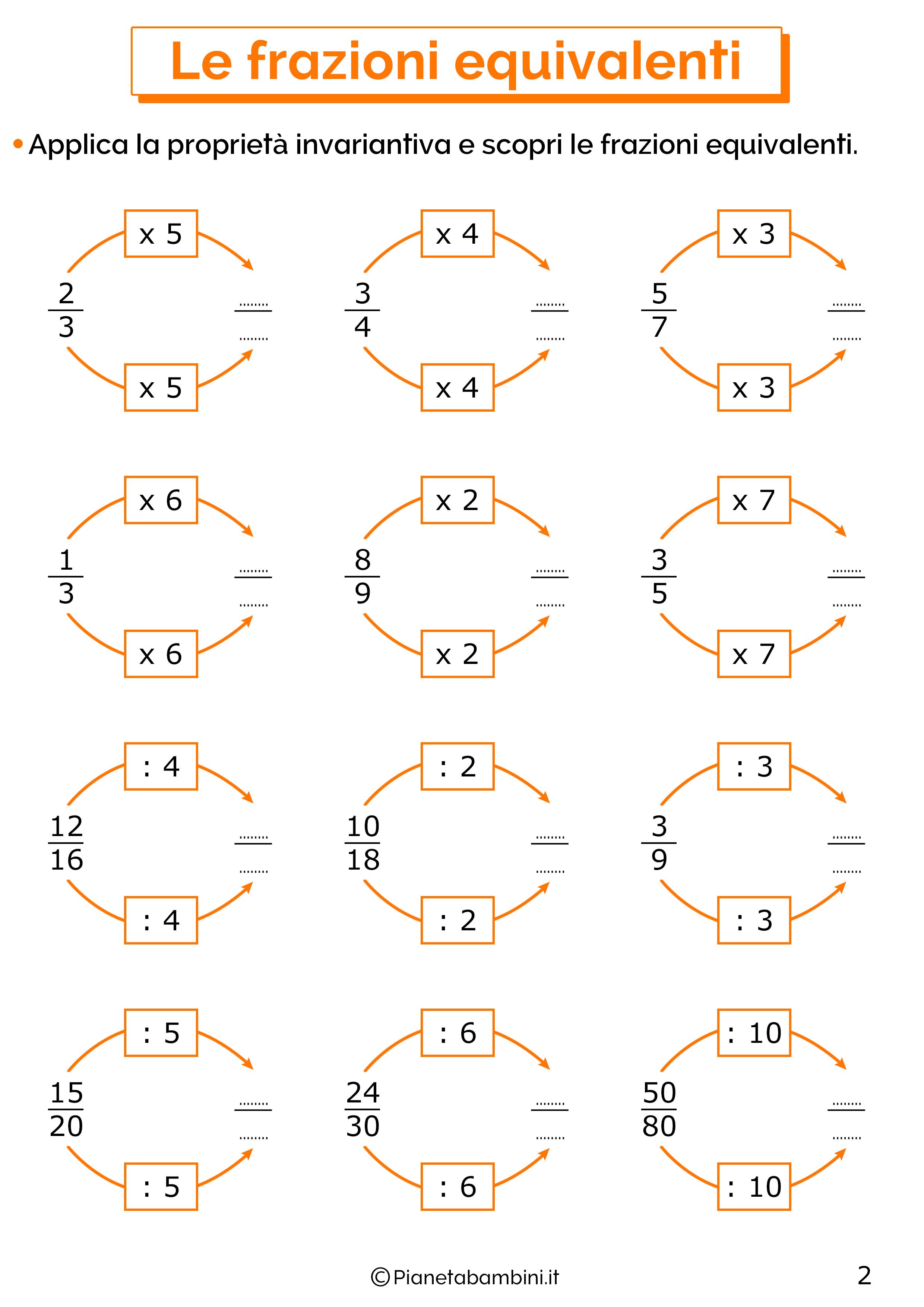 Esercizi sulle frazioni equivalenti 2