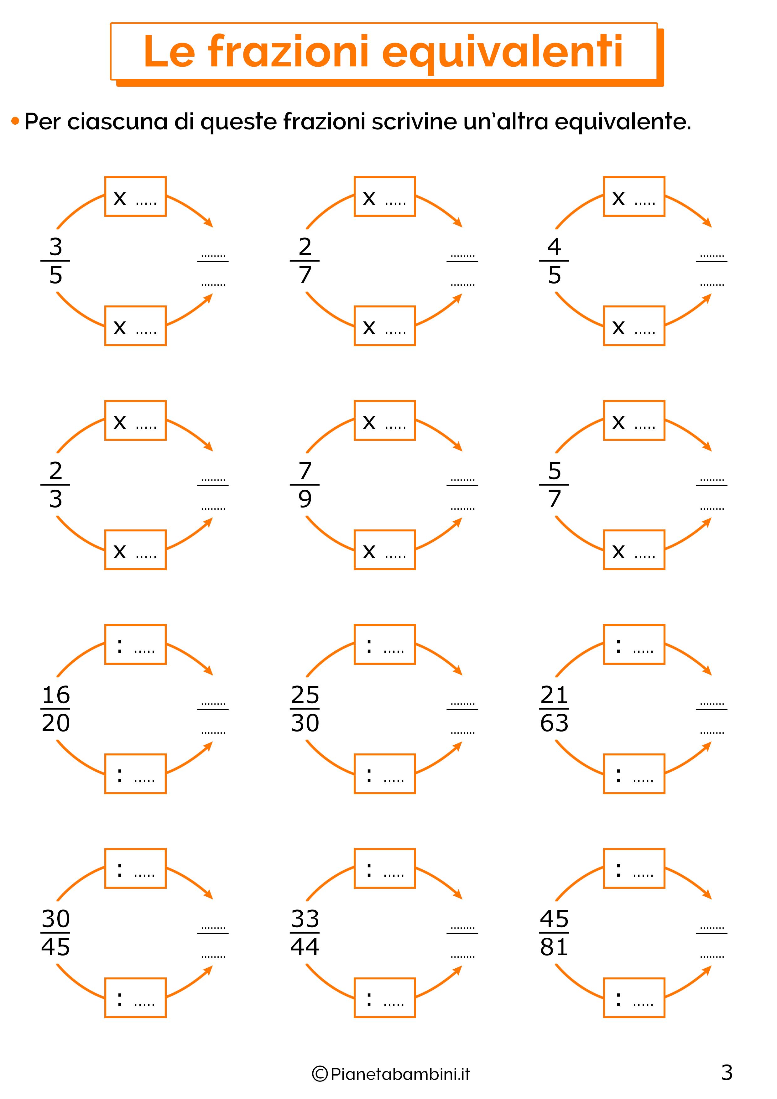 Esercizi sulle frazioni equivalenti 3