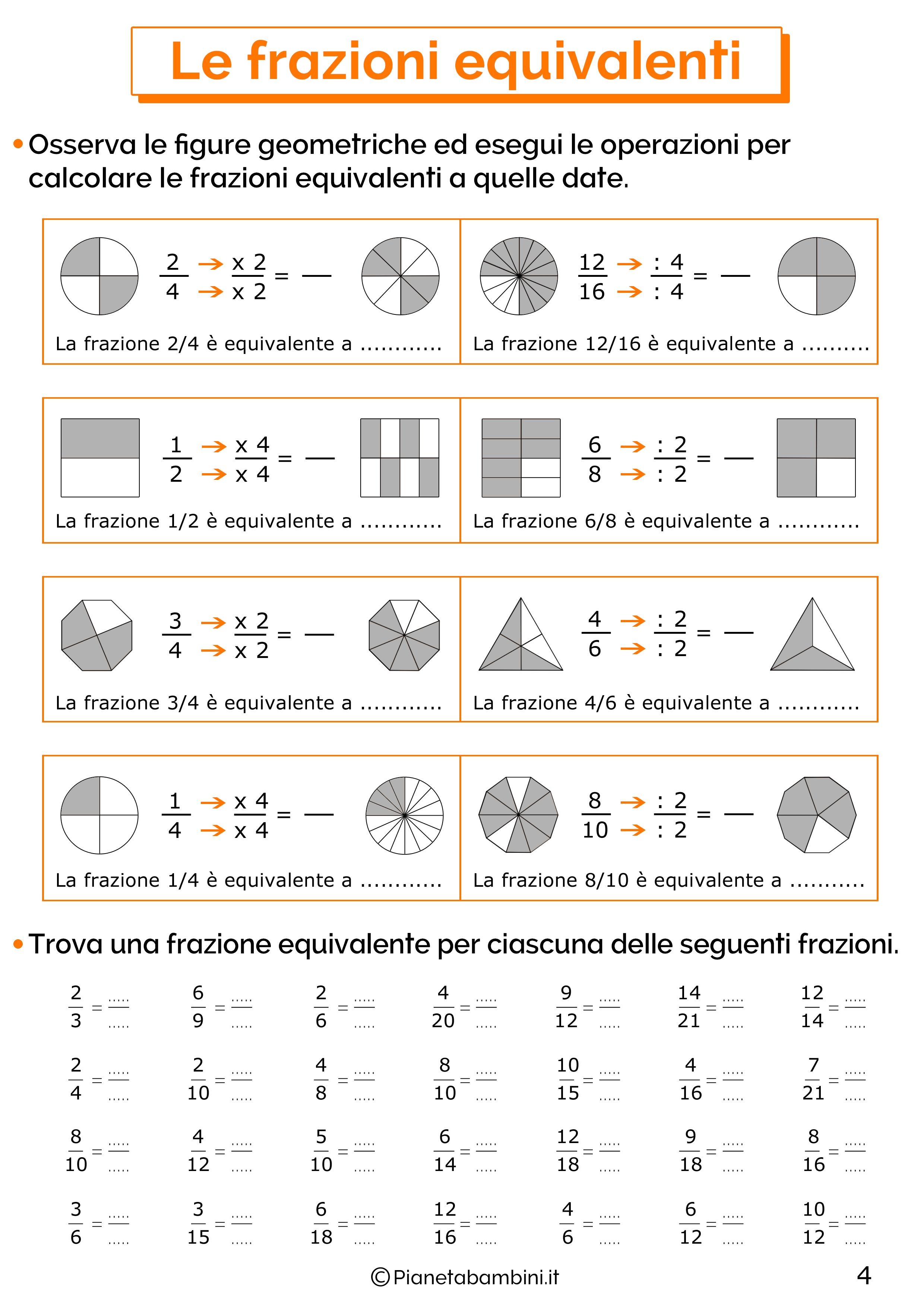 Esercizi sulle frazioni equivalenti 4