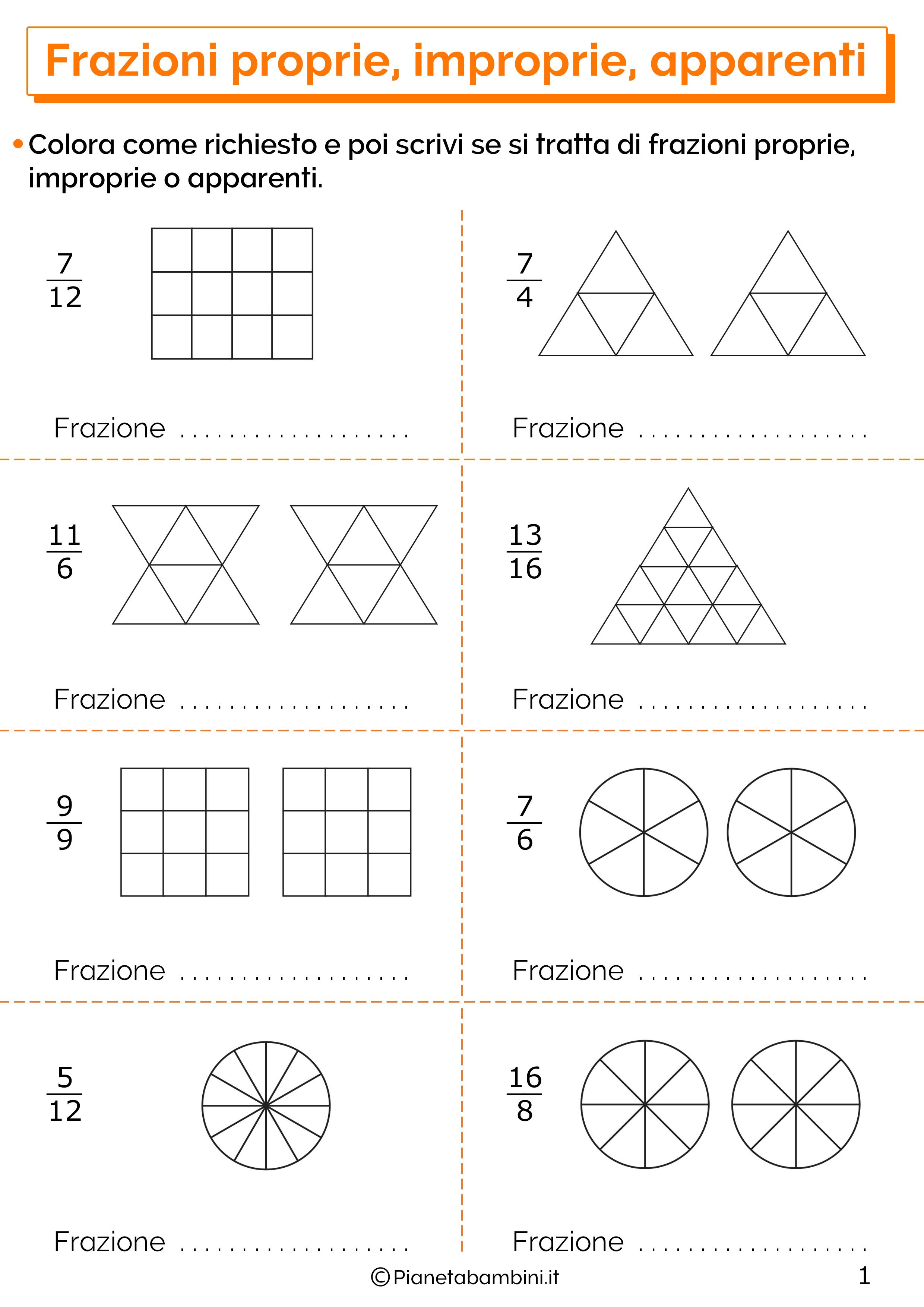 Esercizi sulle frazioni proprie improprie e apparenti 1