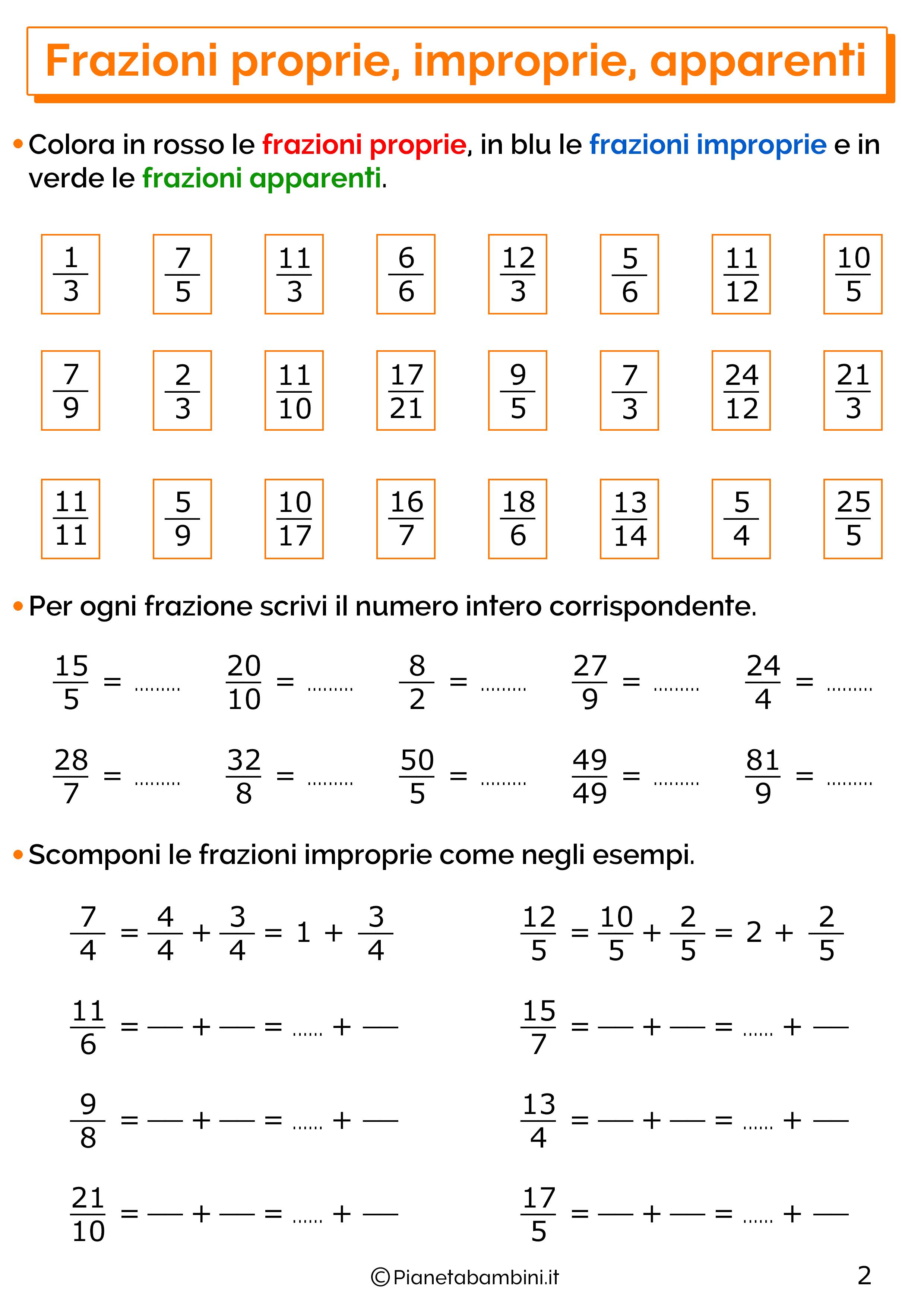 Esercizi sulle frazioni proprie improprie e apparenti 2