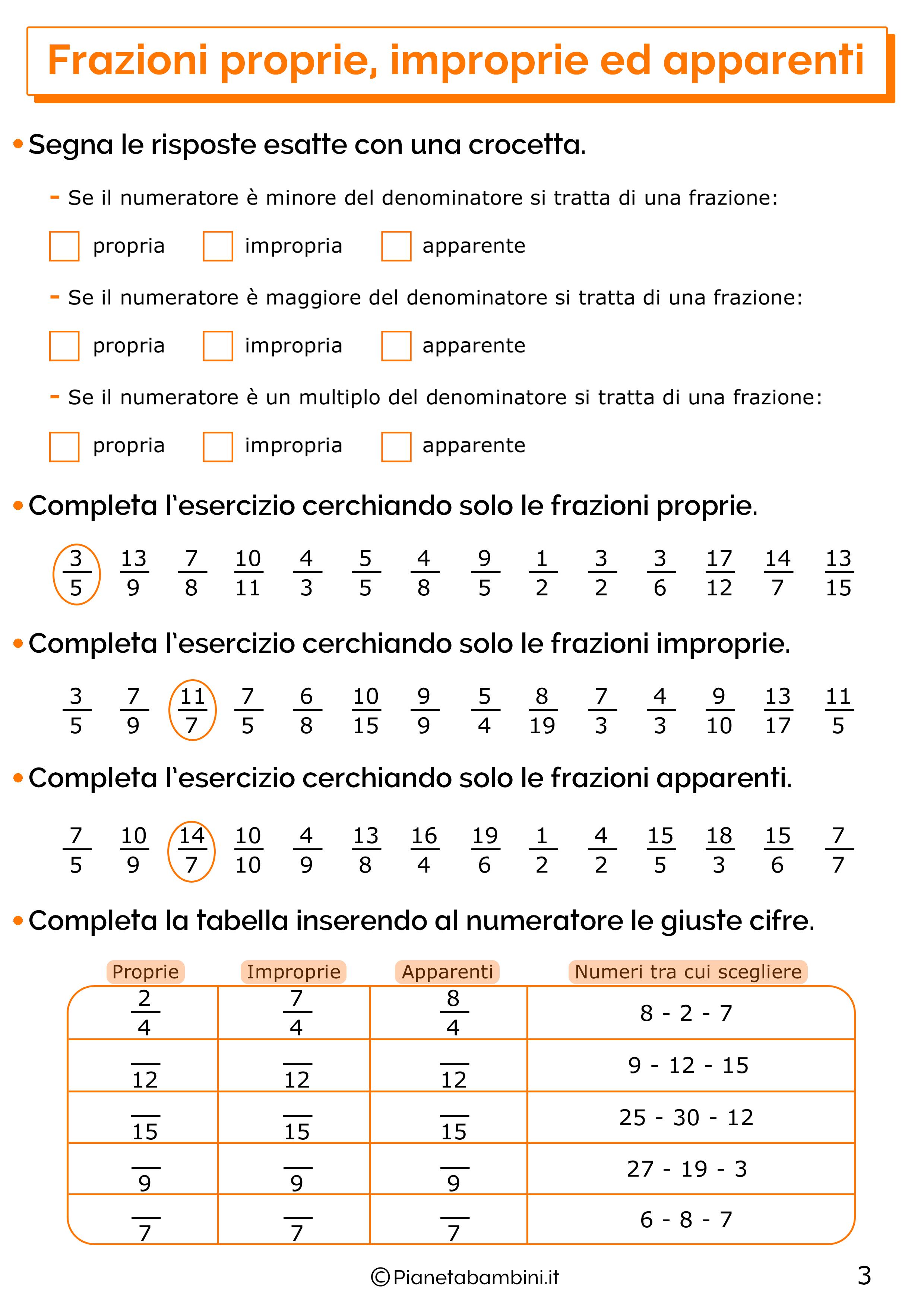 Esercizi sulle frazioni proprie improprie e apparenti 3