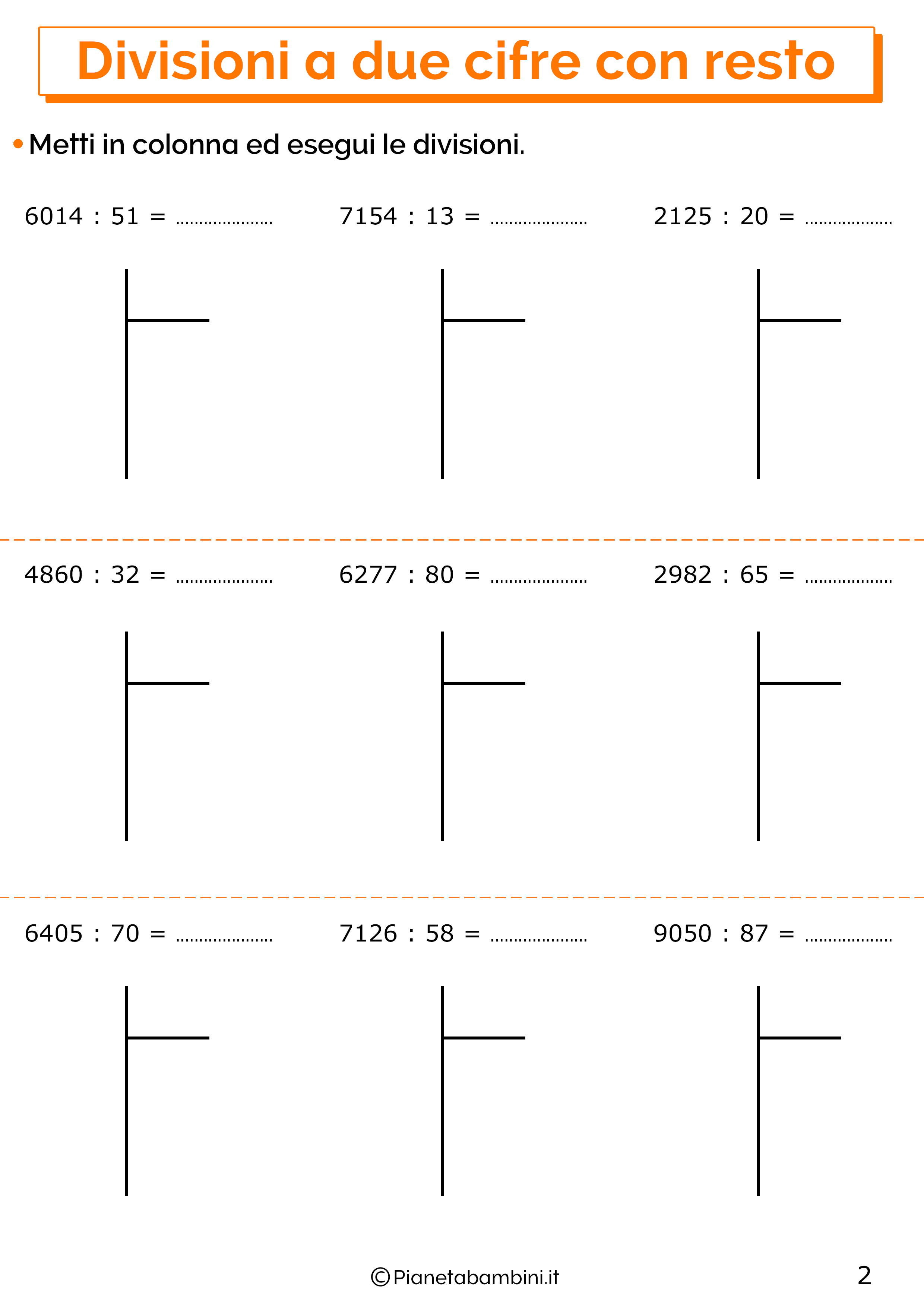 Esercizi sulle divisioni a due cifre con resto 2