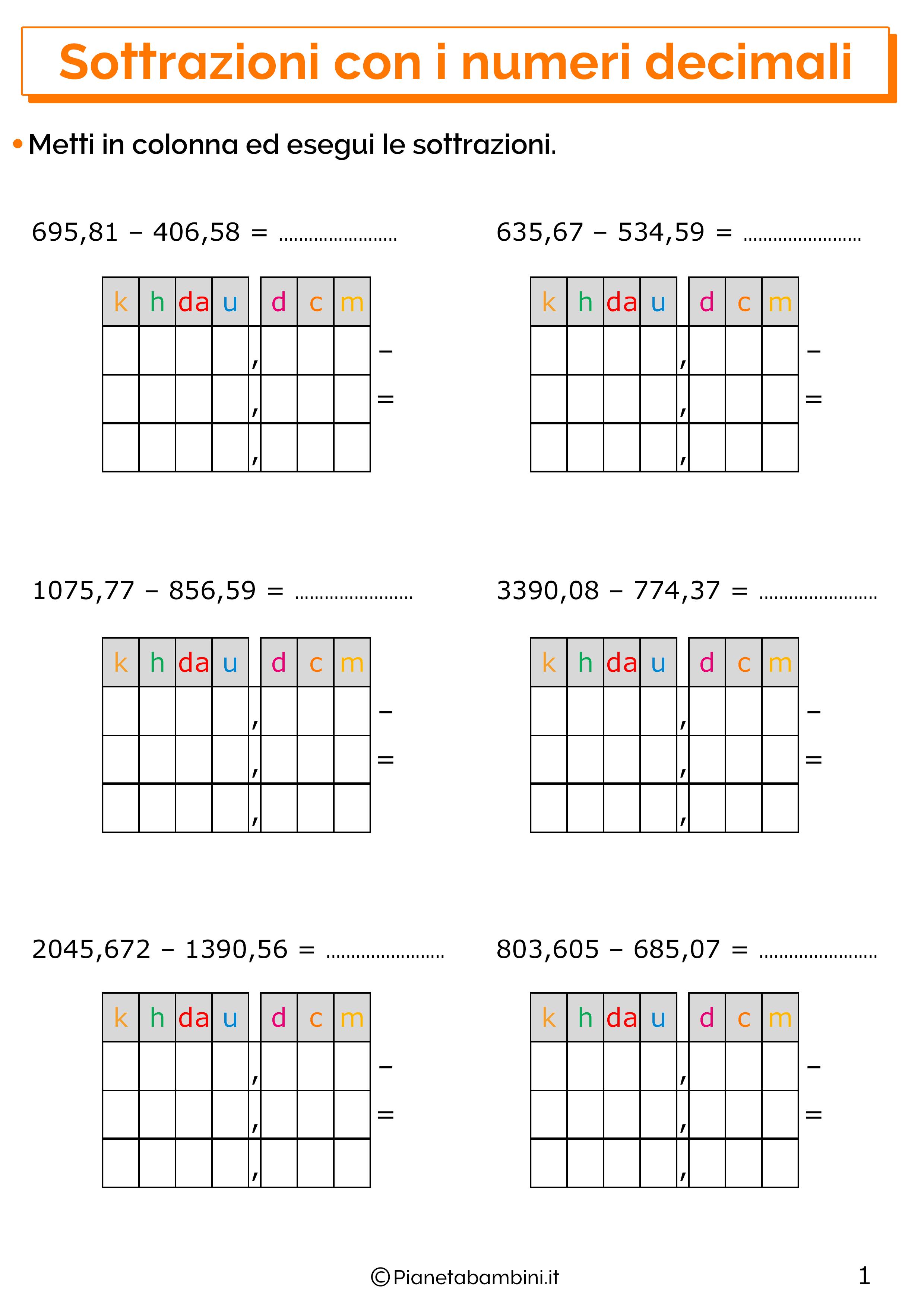 Esercizi sulle sottrazioni con i numeri decimali 1