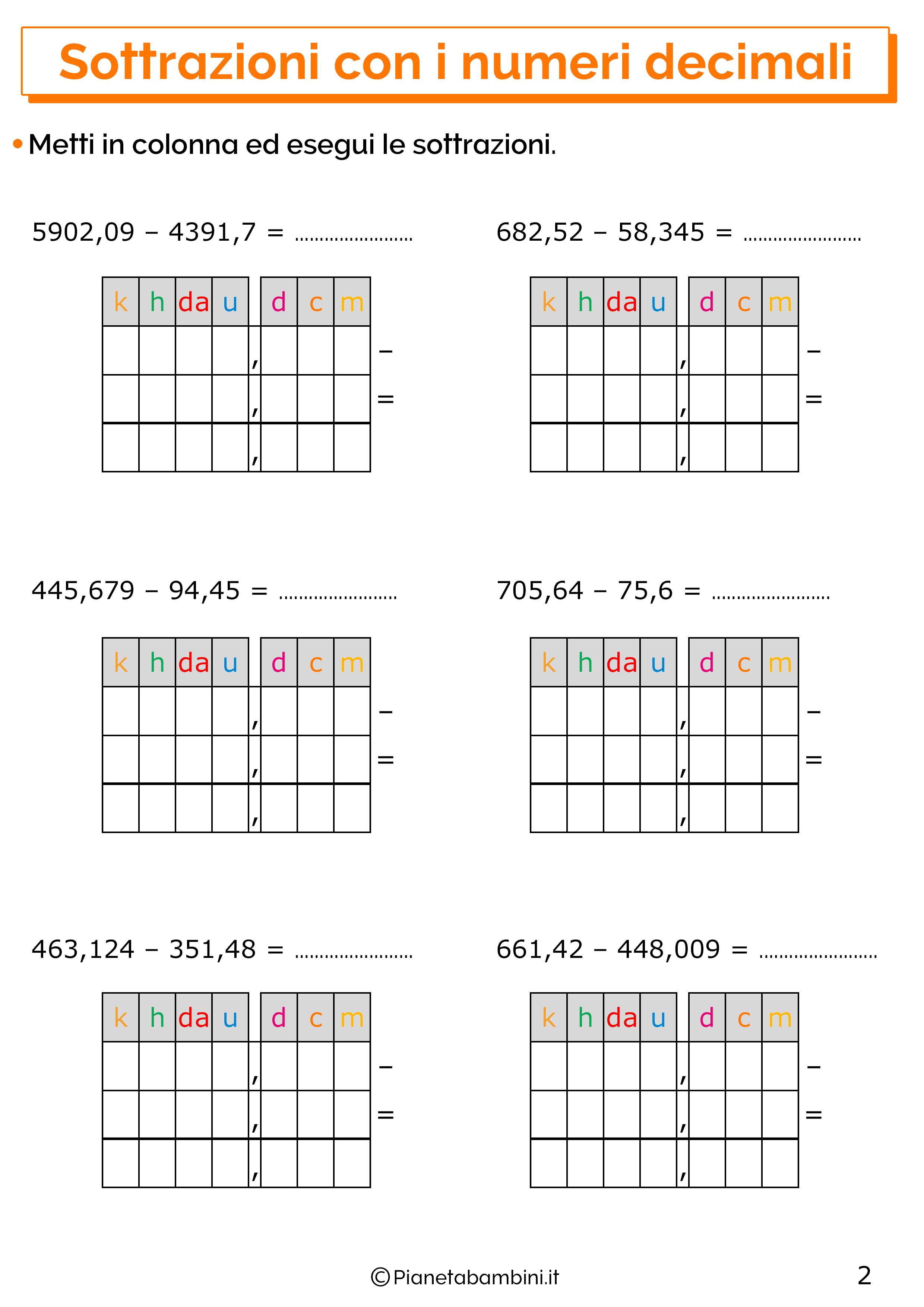 Esercizi sulle sottrazioni con i numeri decimali 2