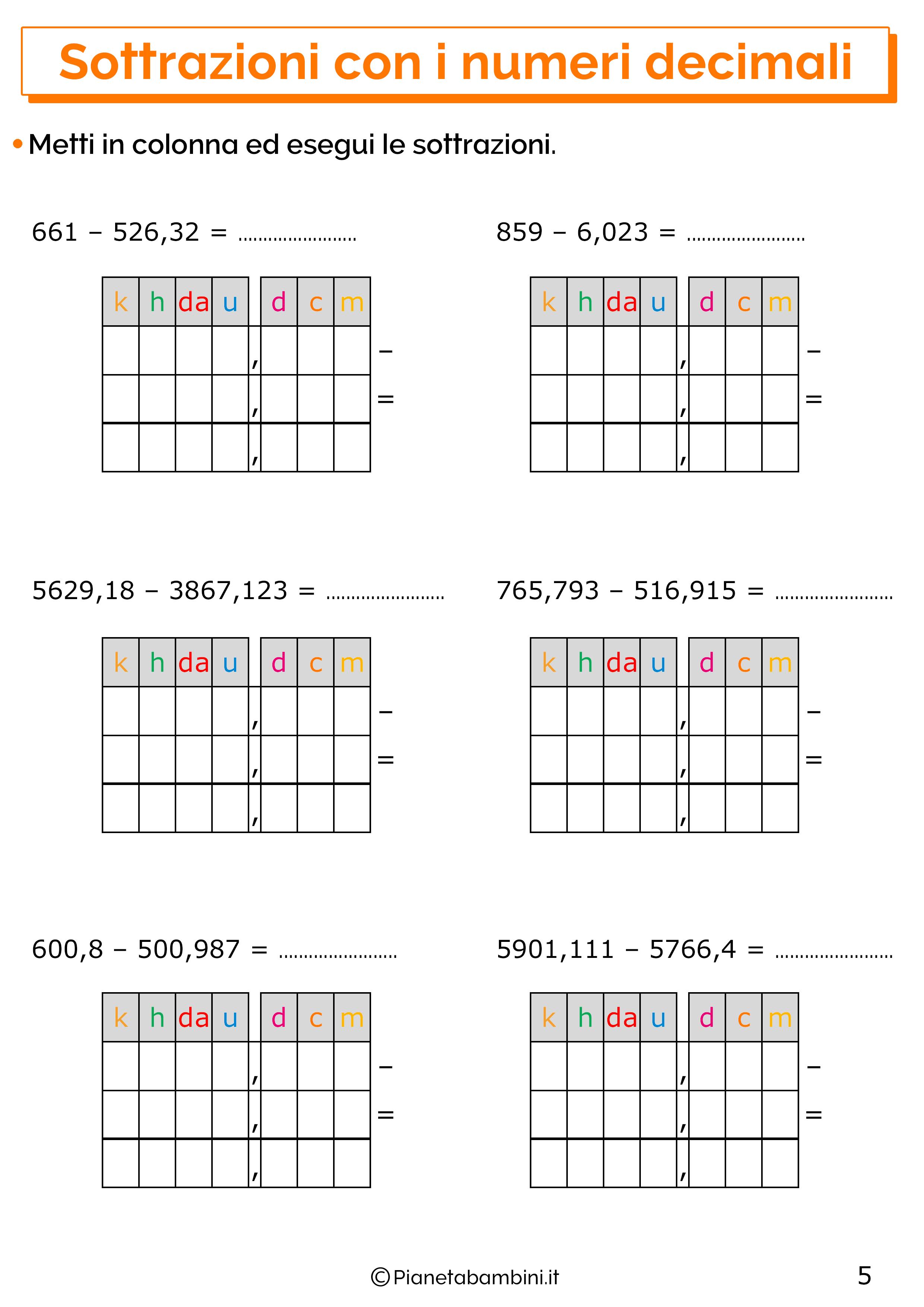 Esercizi sulle sottrazioni con i numeri decimali 5