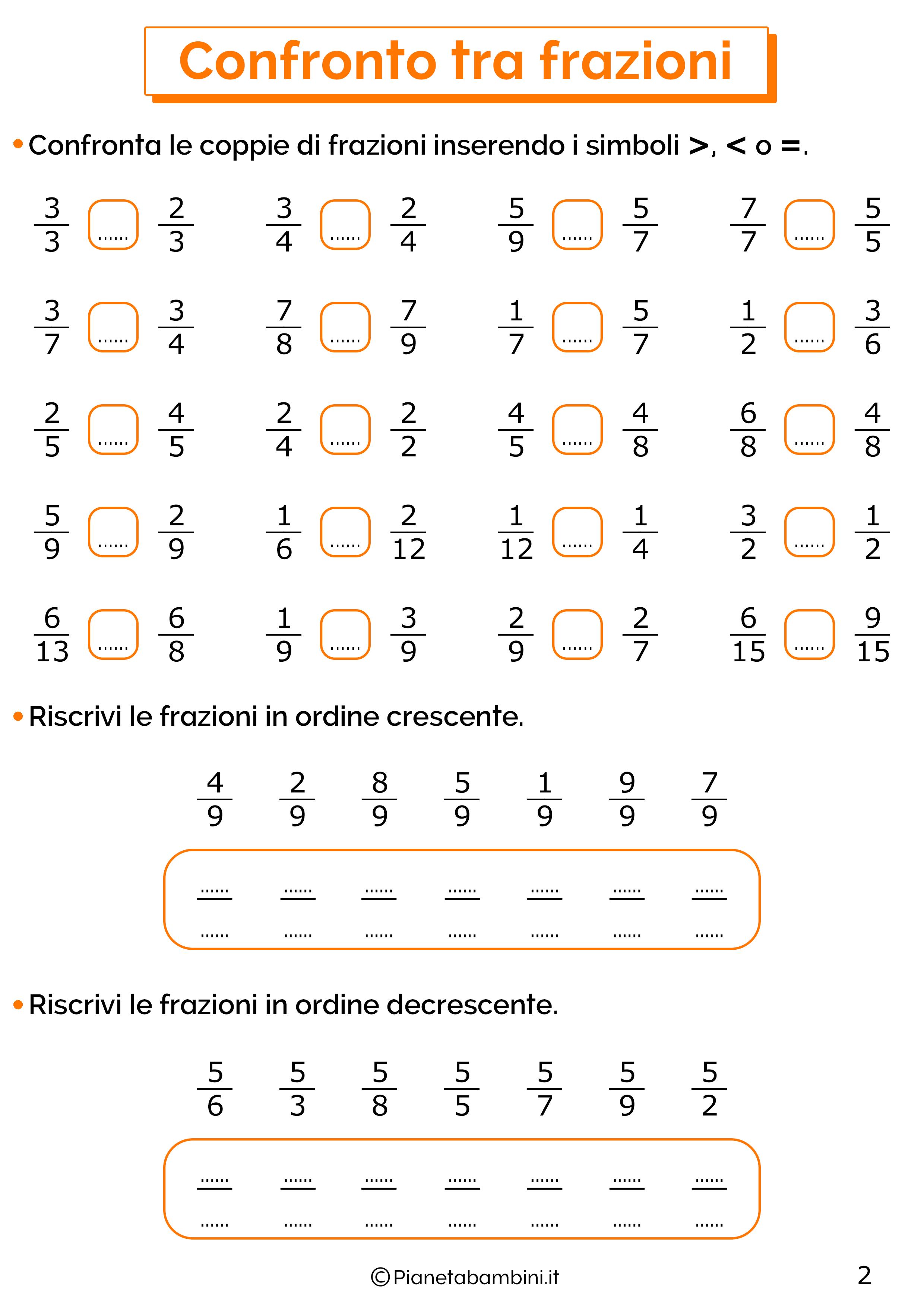 Esercizi sul confronto tra frazioni 2