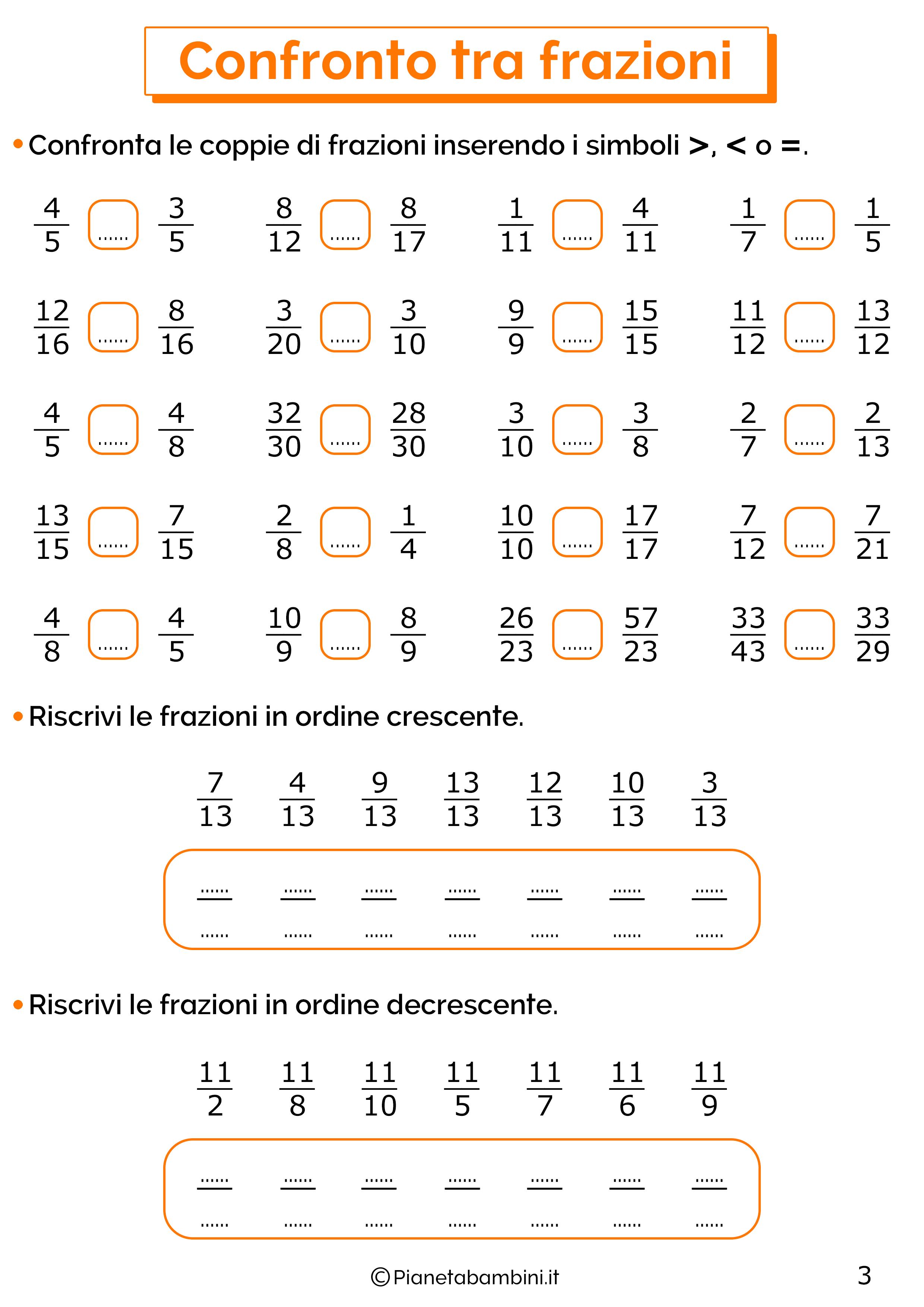 Esercizi sul confronto tra frazioni 3