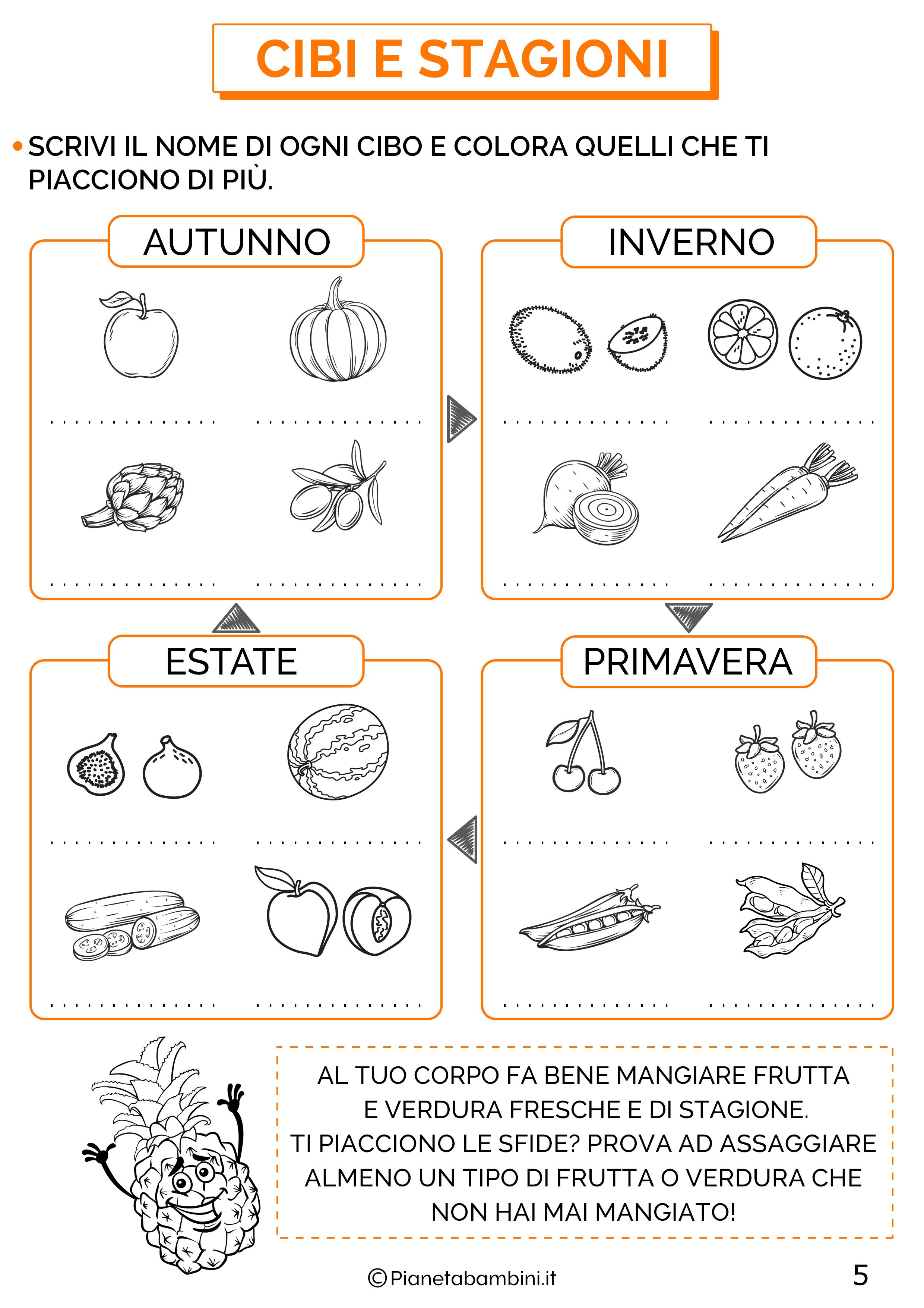 Esercizi educazione alimentare classe prima 5