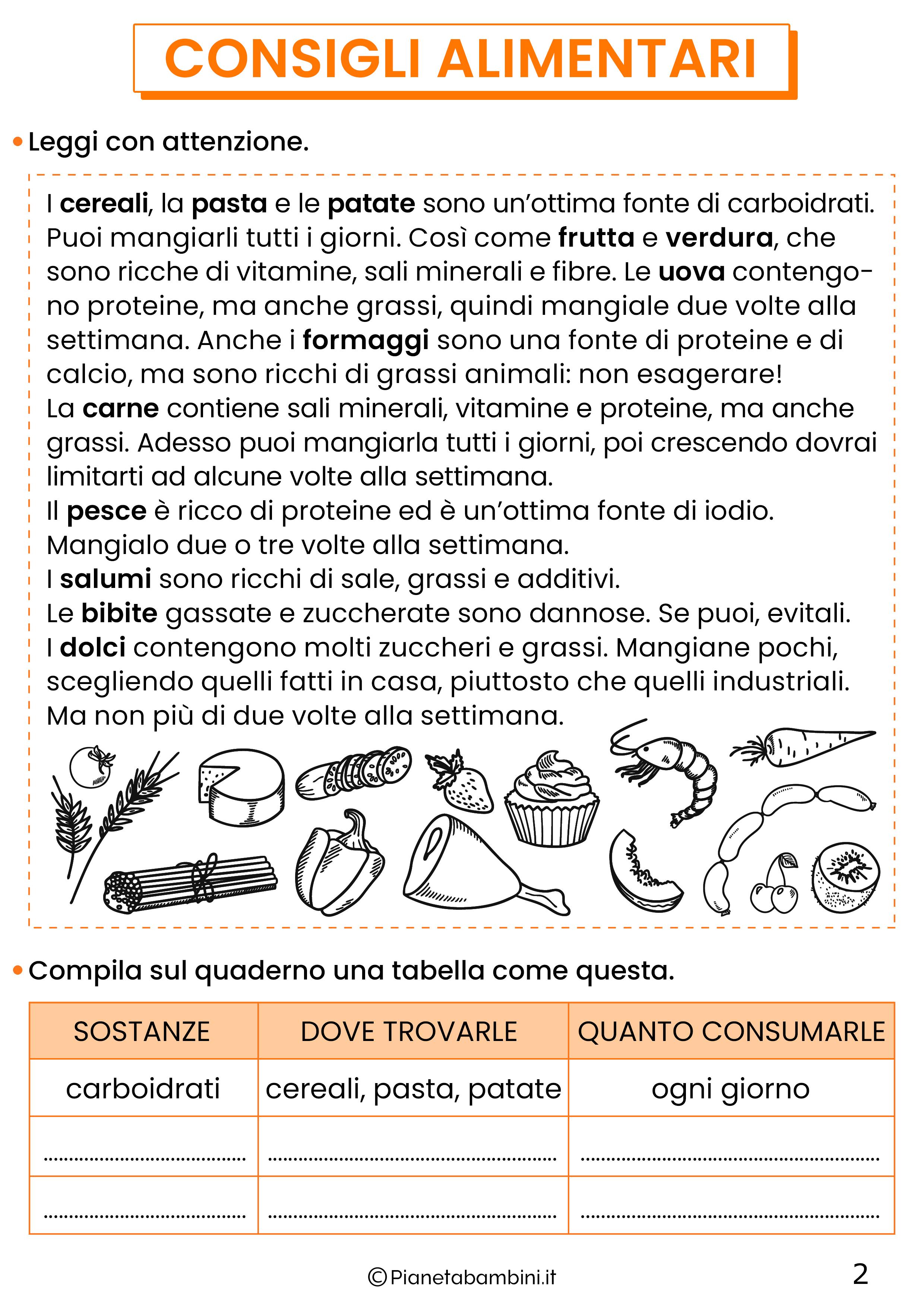 Schede didattiche educazione alimentare classe quarta 2