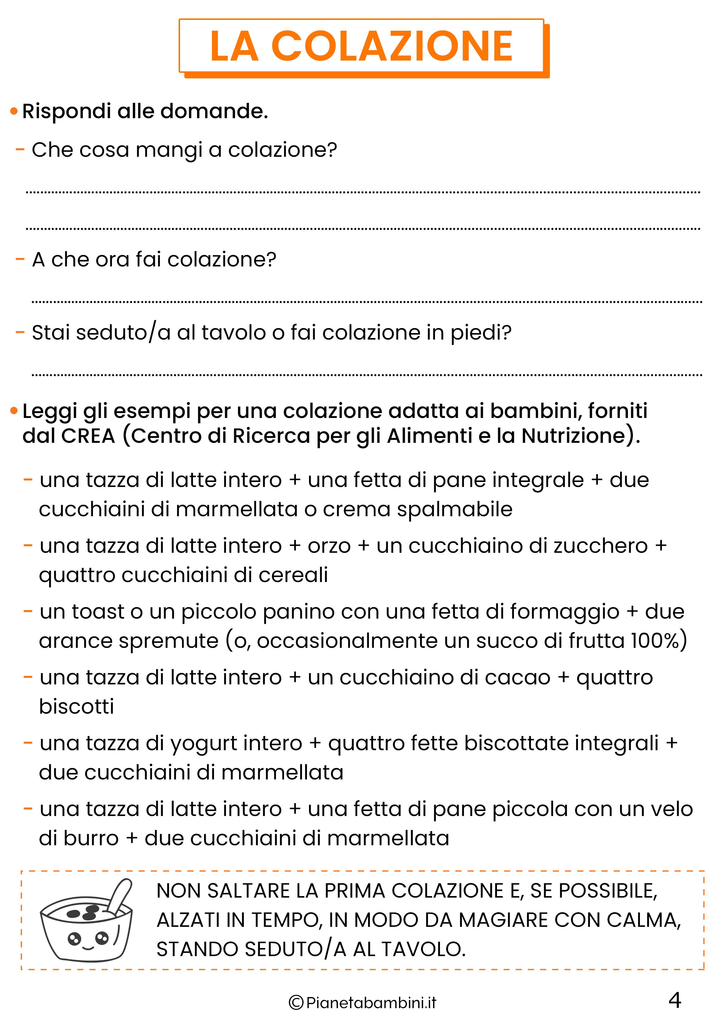 Schede didattiche educazione alimentare classe quinta 4