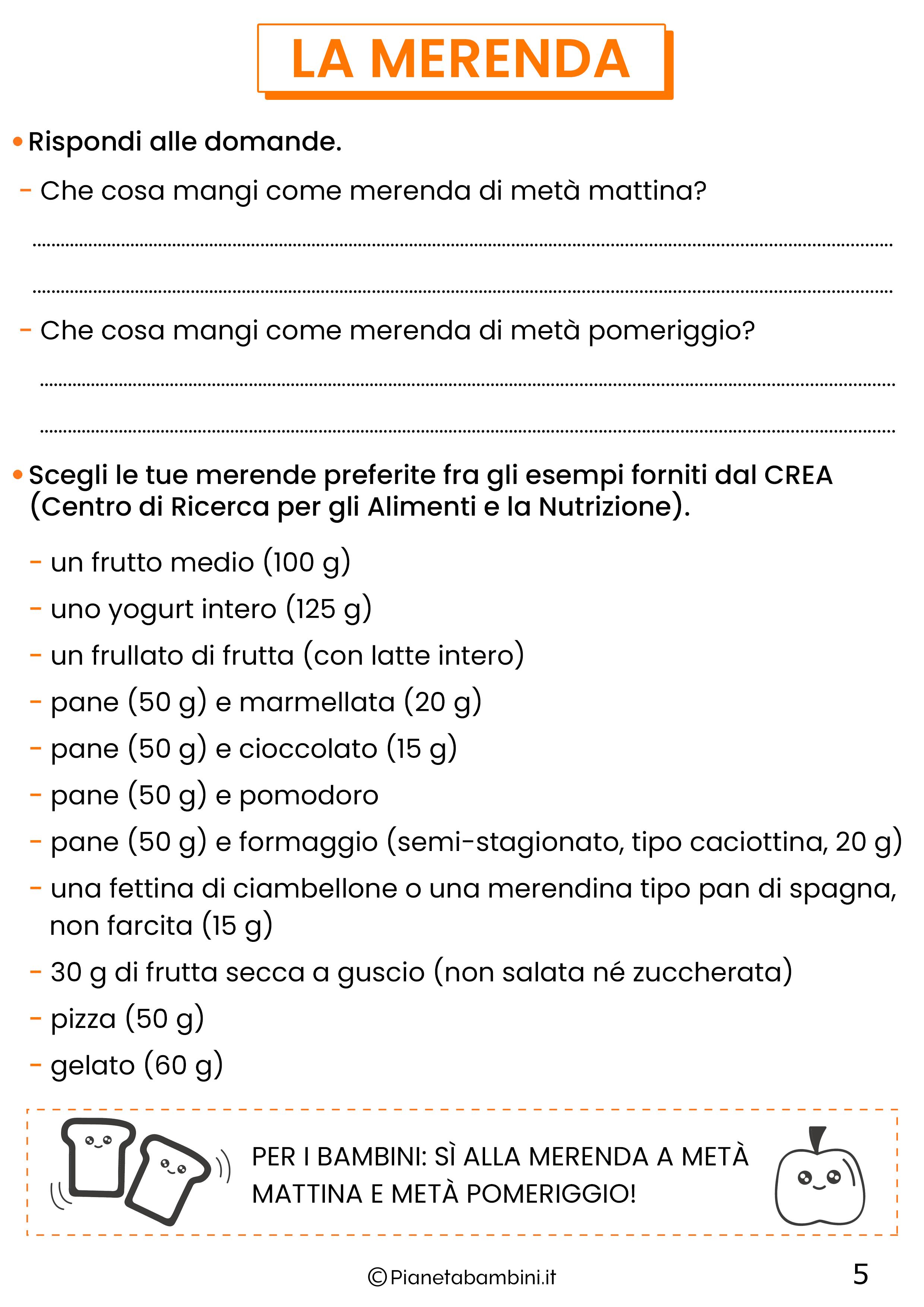 Schede didattiche educazione alimentare classe quinta 5