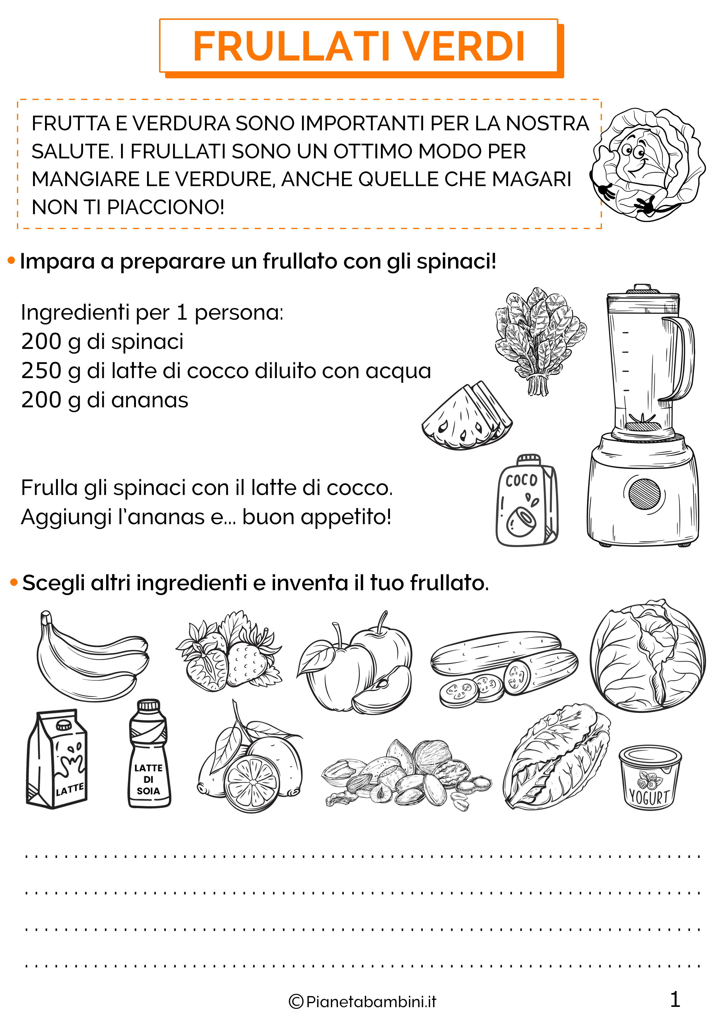 Schede didattiche educazione alimentare classe terza 1
