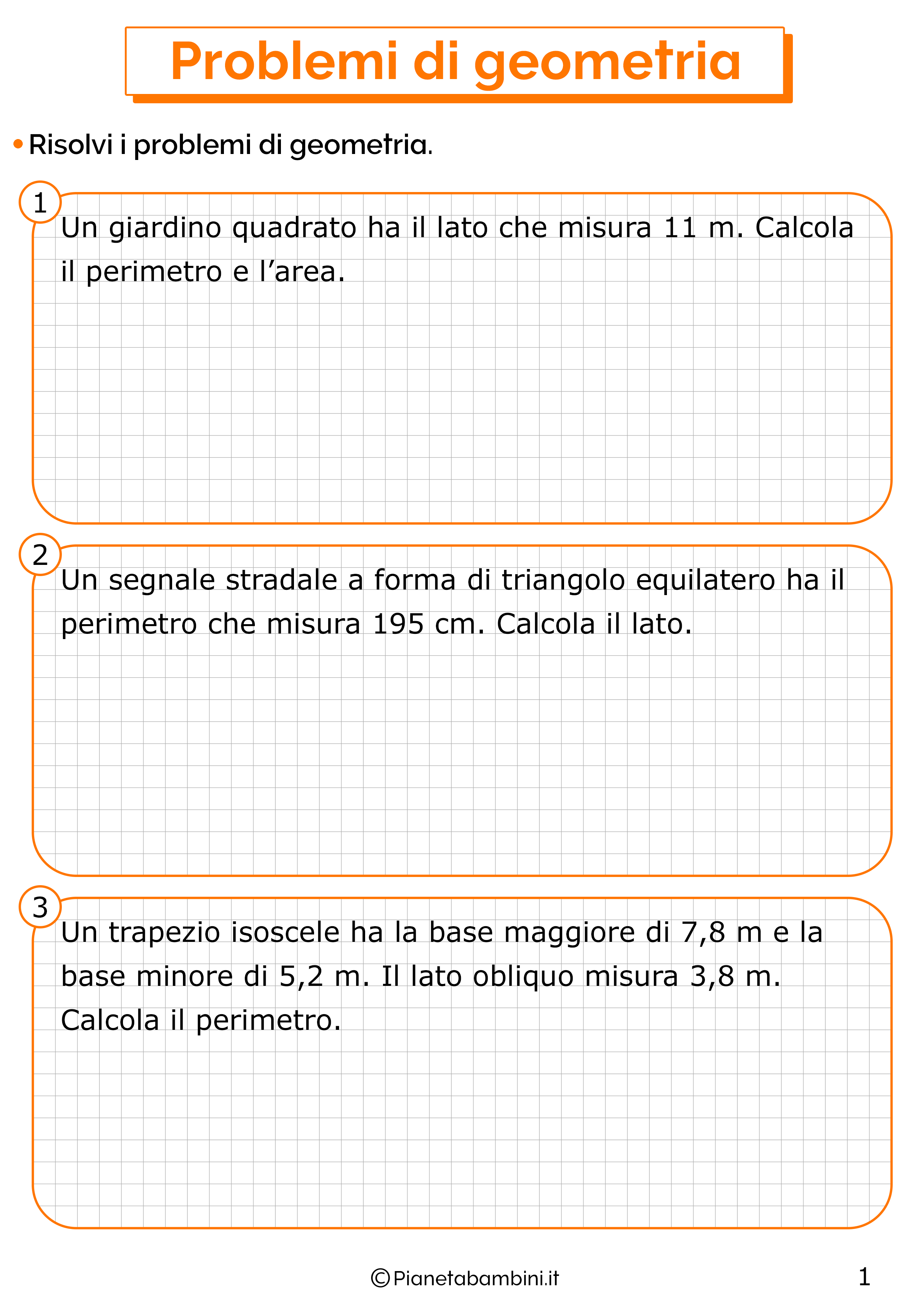 Problemi di geometria classe quarta da stampare 1