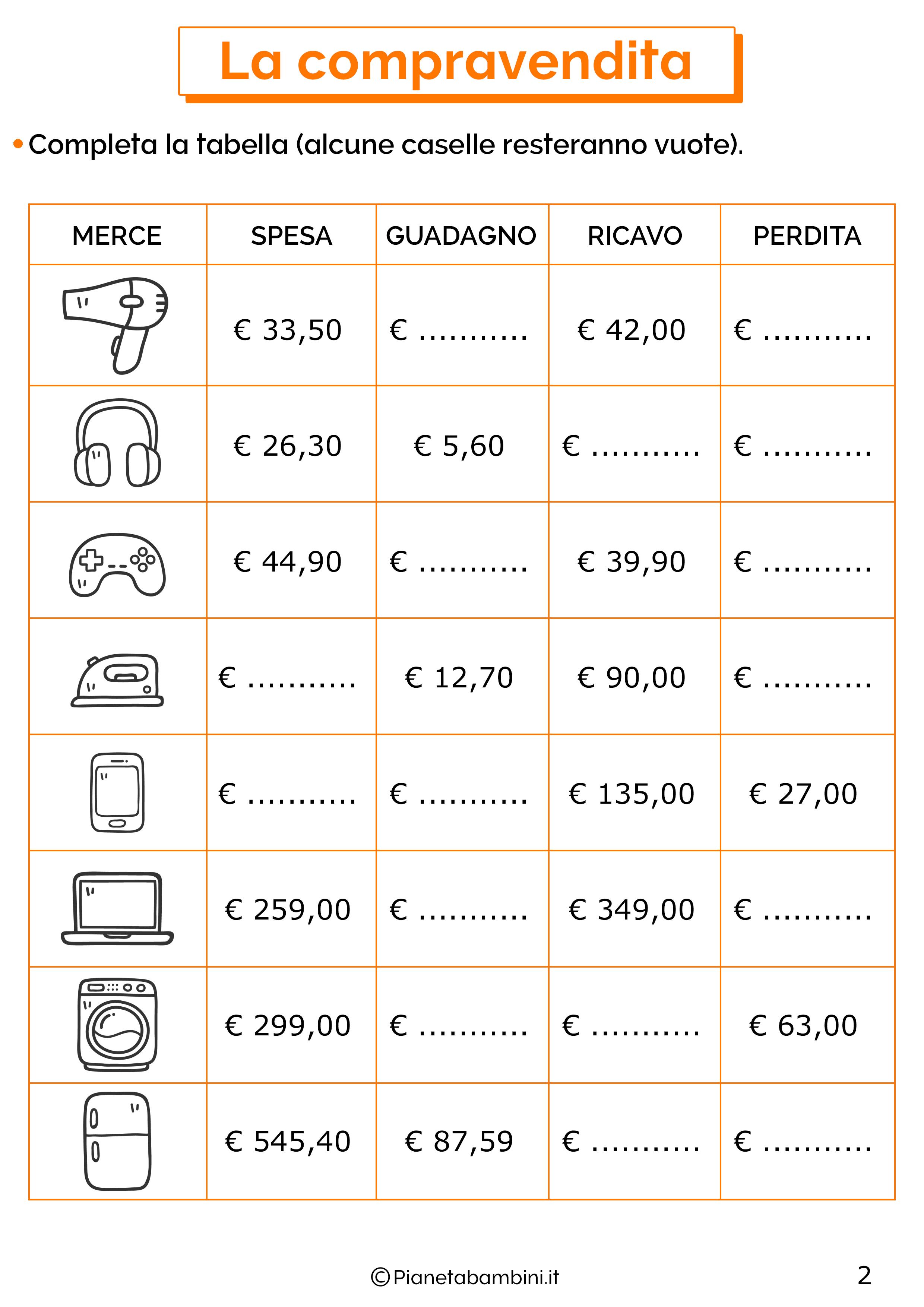 Esercizi sulla compravendita 2