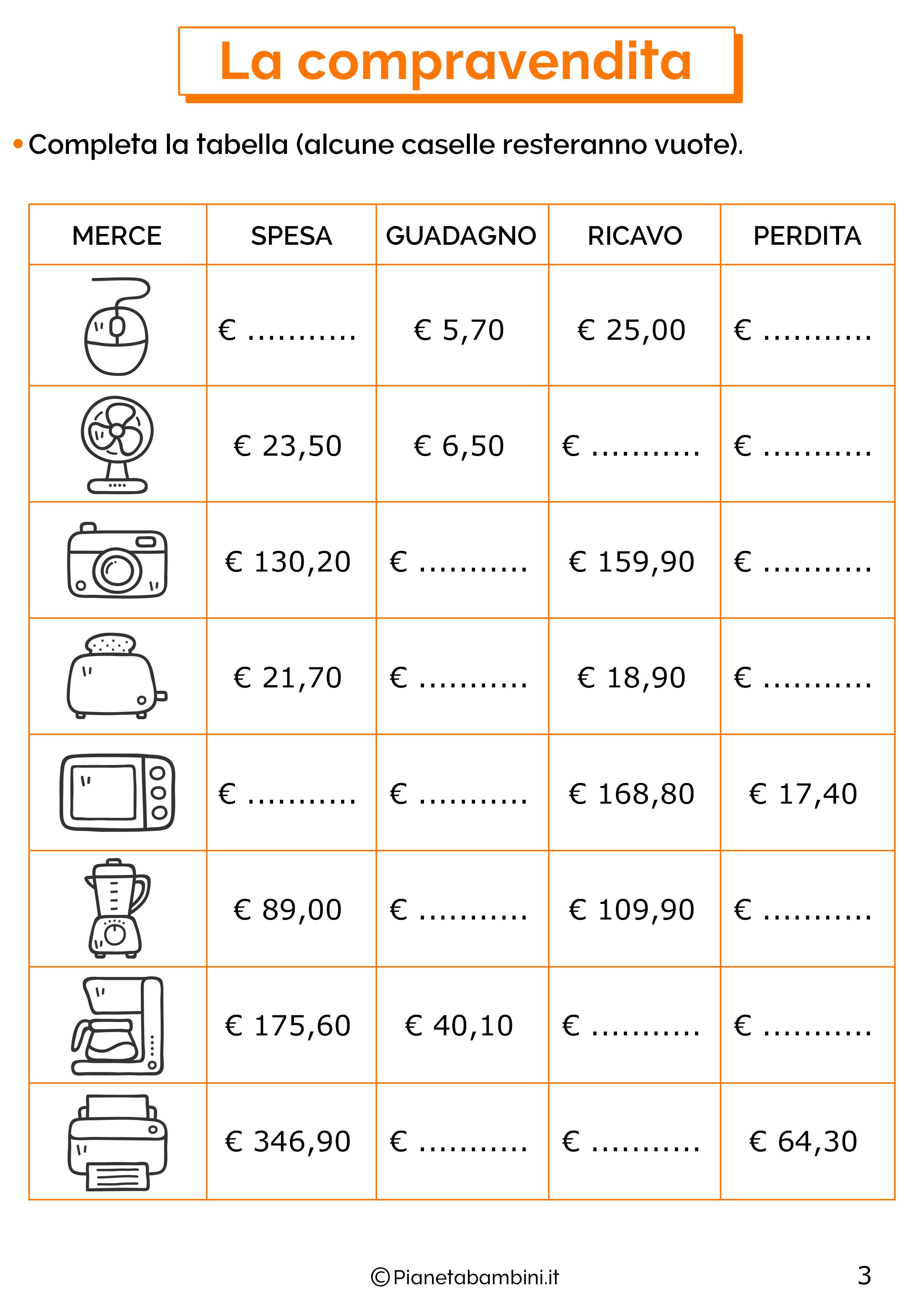 Esercizi sulla compravendita 3