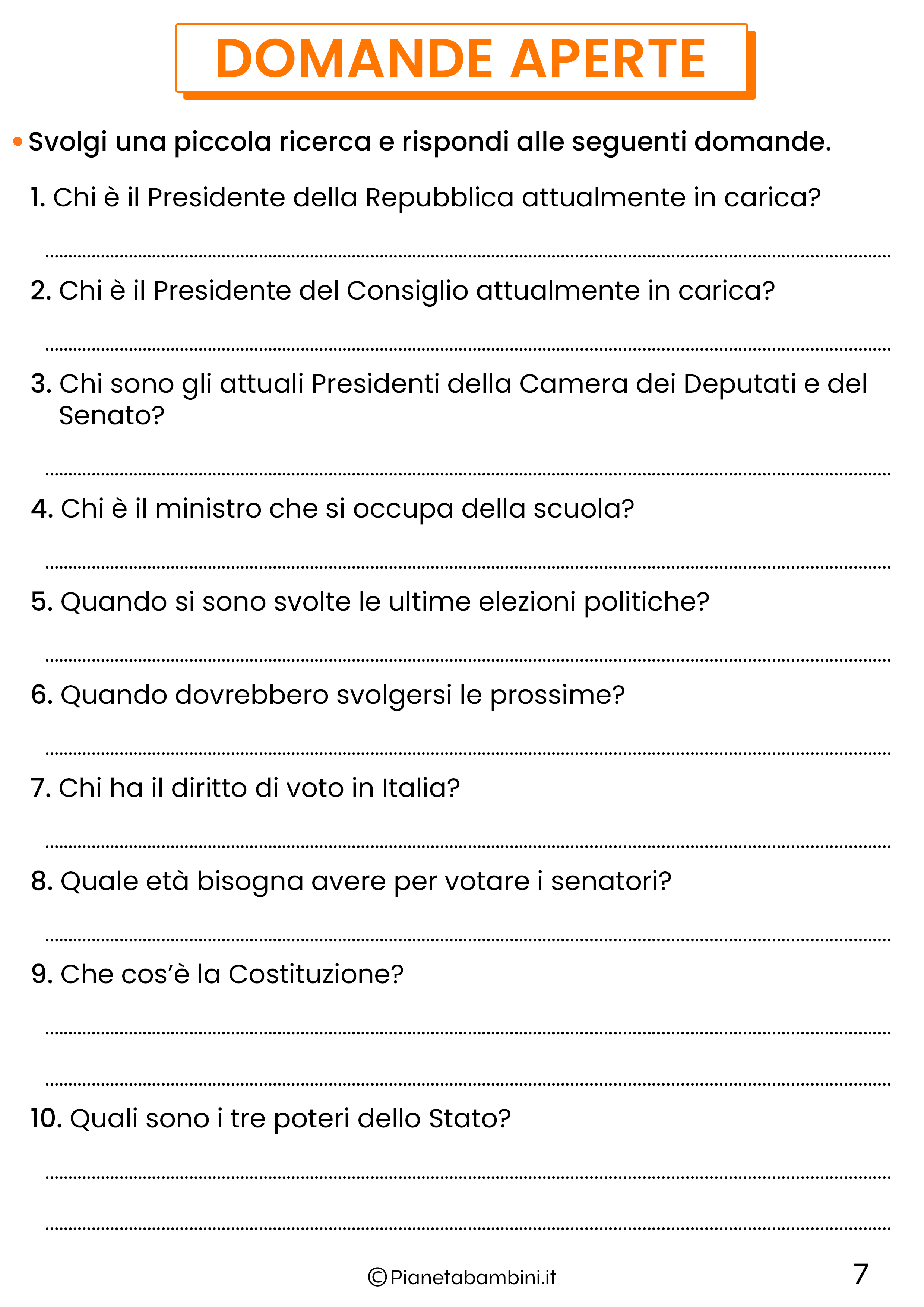 Schede didattiche sui diritti e doveri per la classe quinta 7