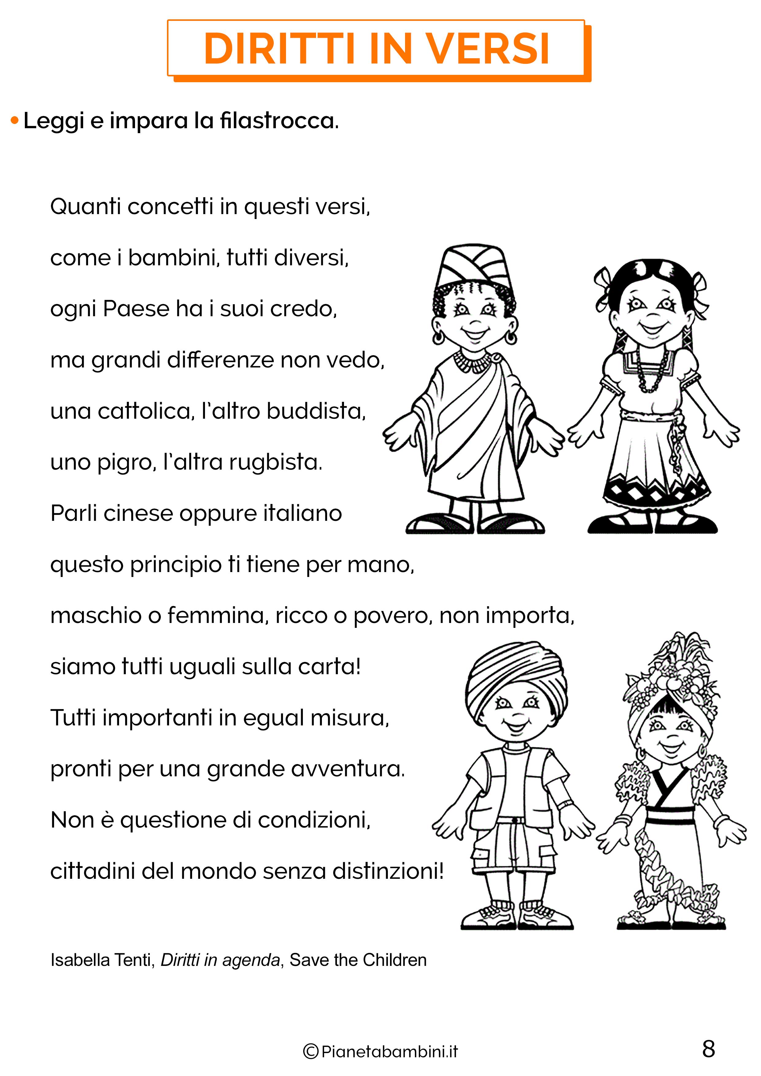 Schede didattiche sui diritti e doveri per la classe terza 8