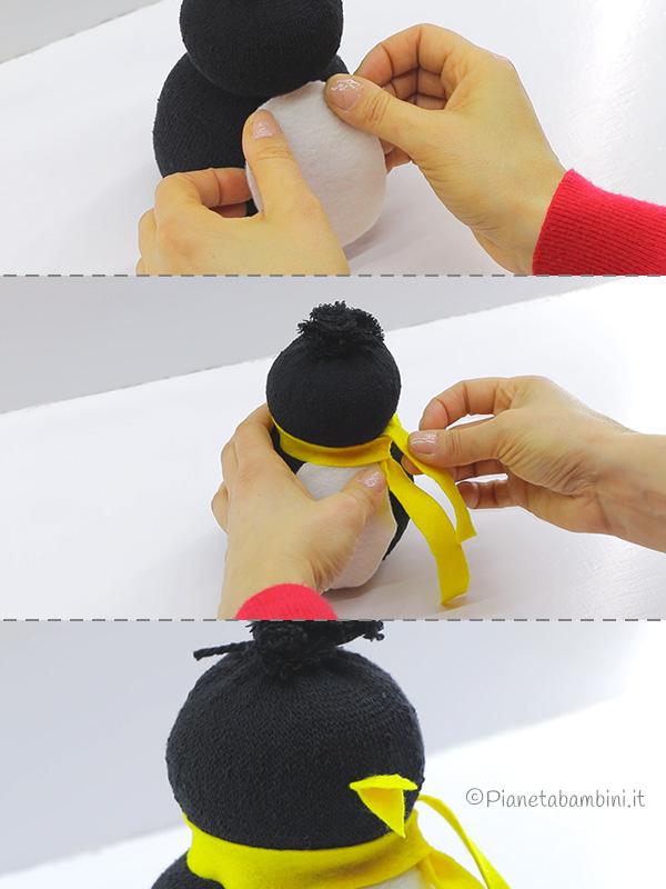 Come applicare il feltro al corpo del pinguino