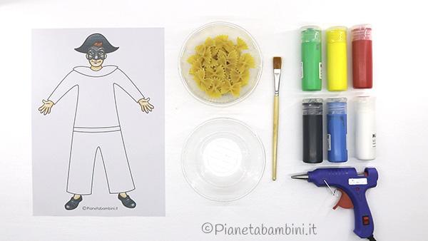 Occorrente per creare Arlecchino con pasta cruda
