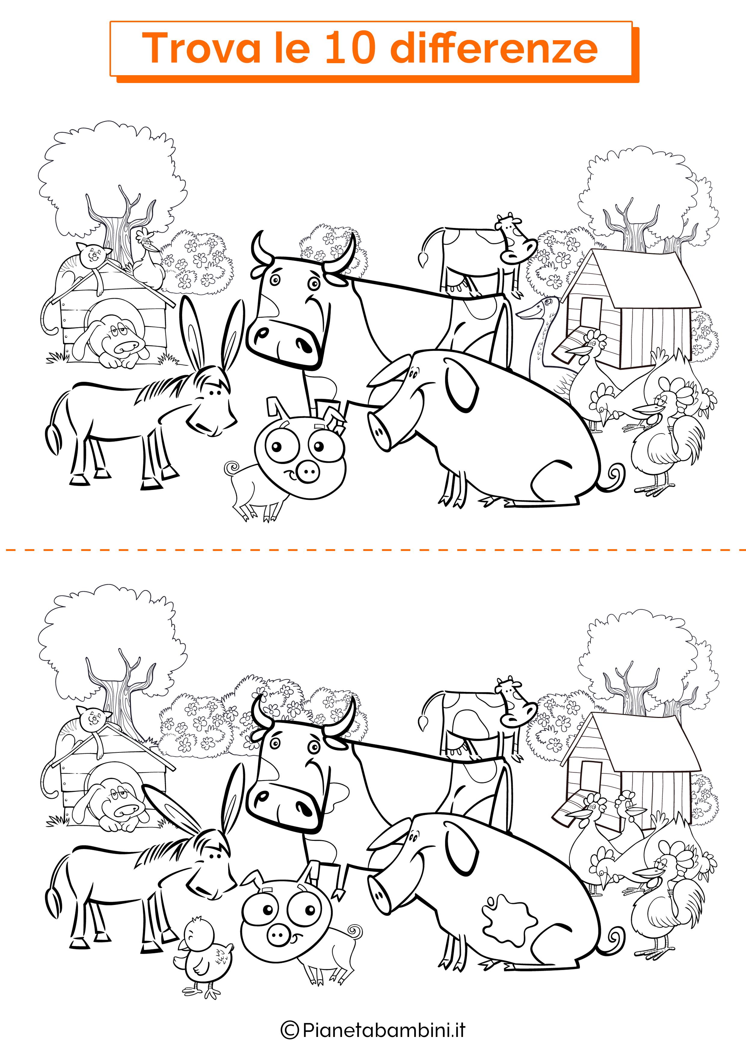 Disegno trova 10 differenze animali della fattoria 1