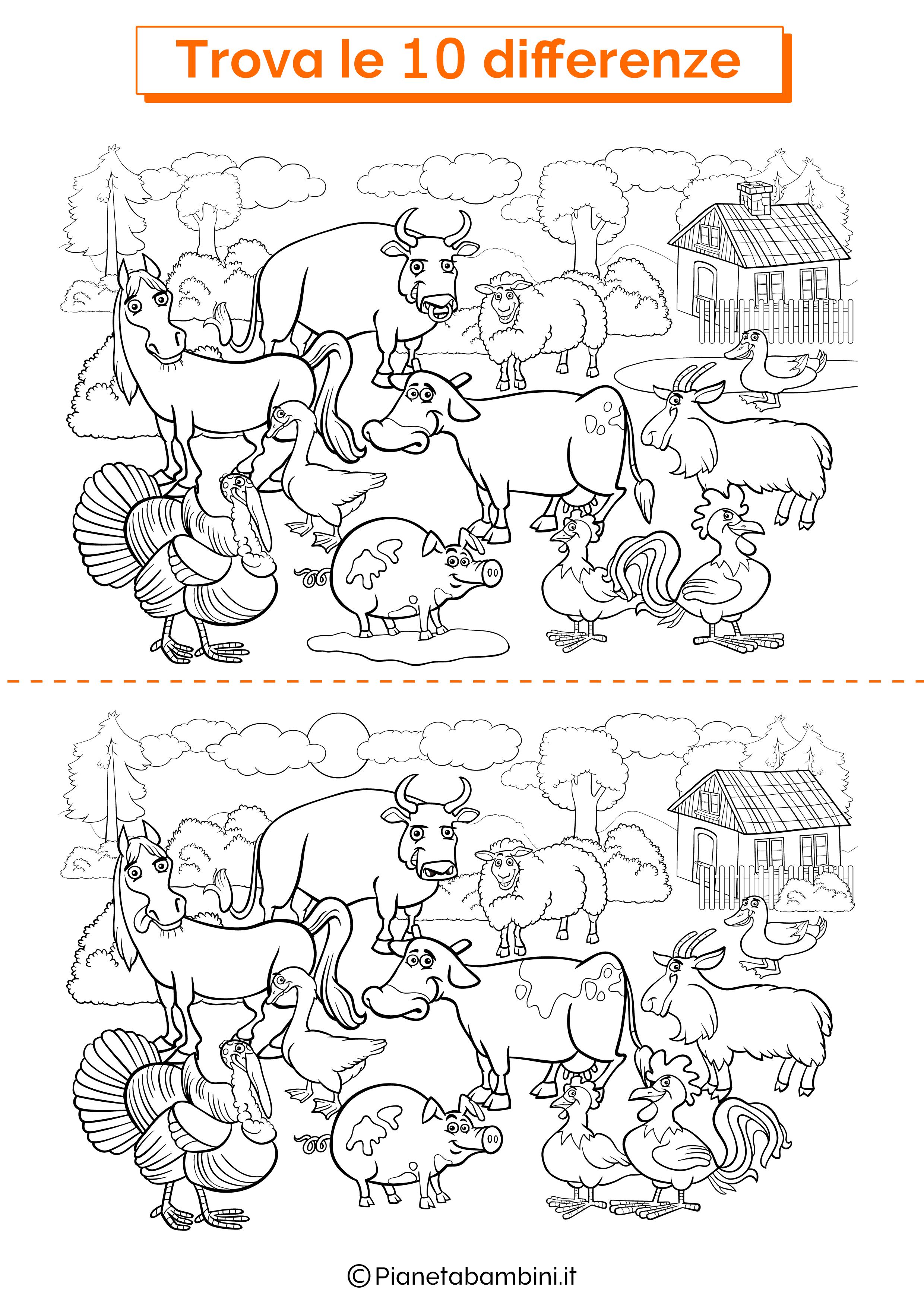 Disegno trova 10 differenze animali della fattoria 2