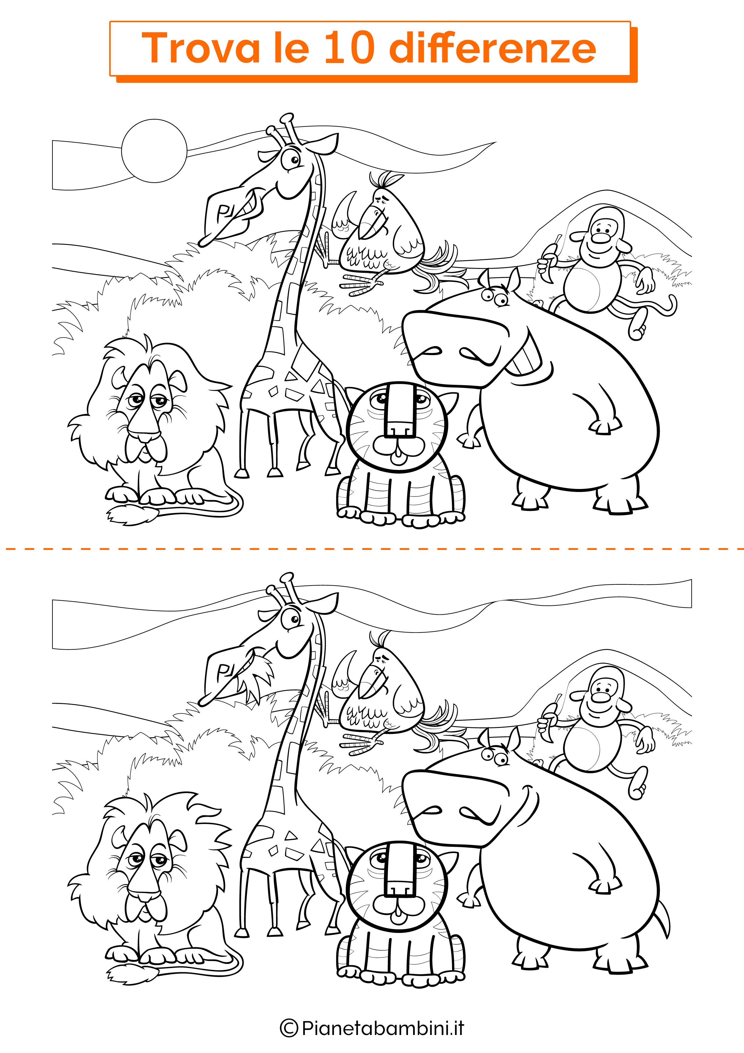Disegno trova 10 differenze animali della giungla 1