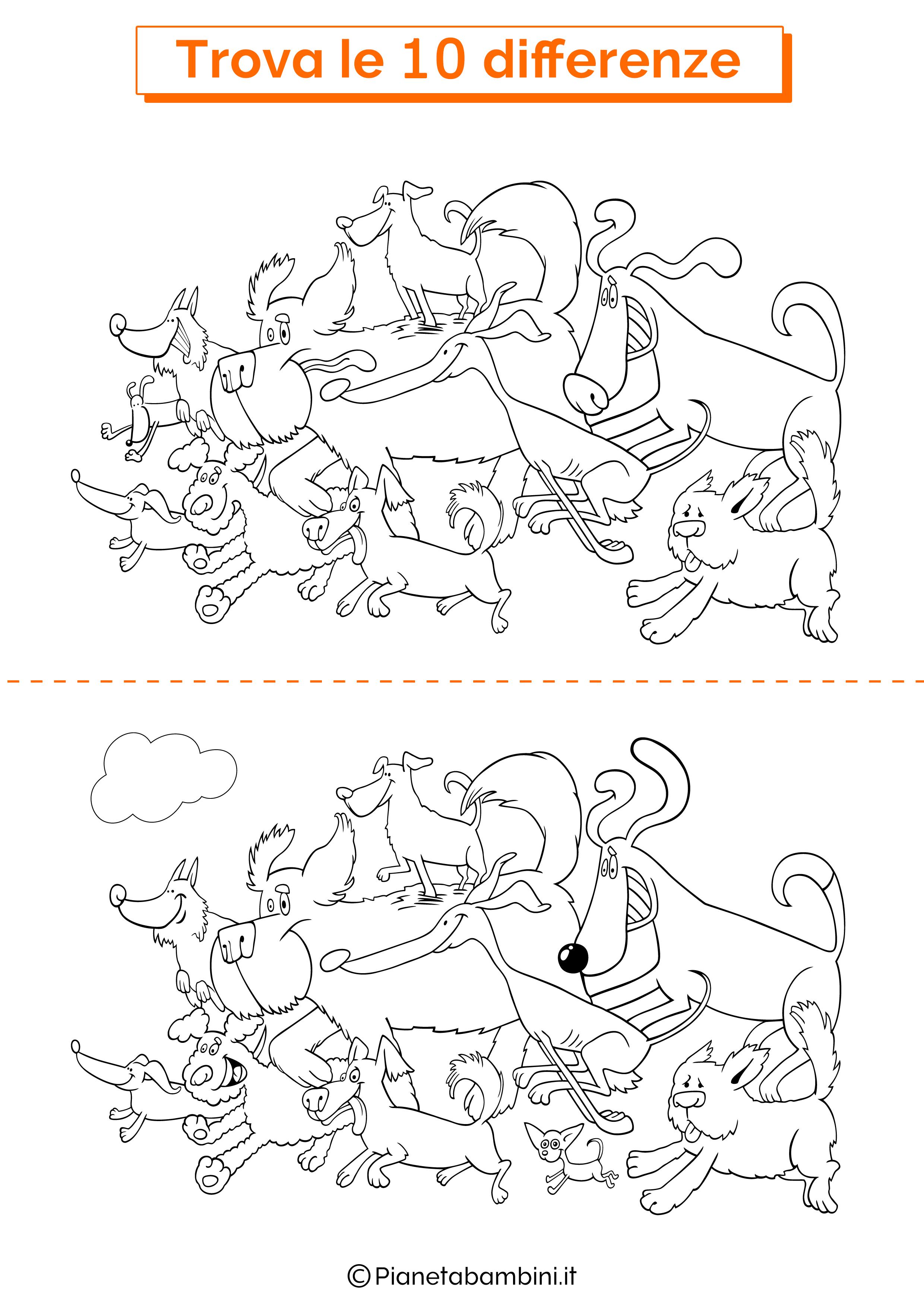 Disegno trova 10 differenze cani 1