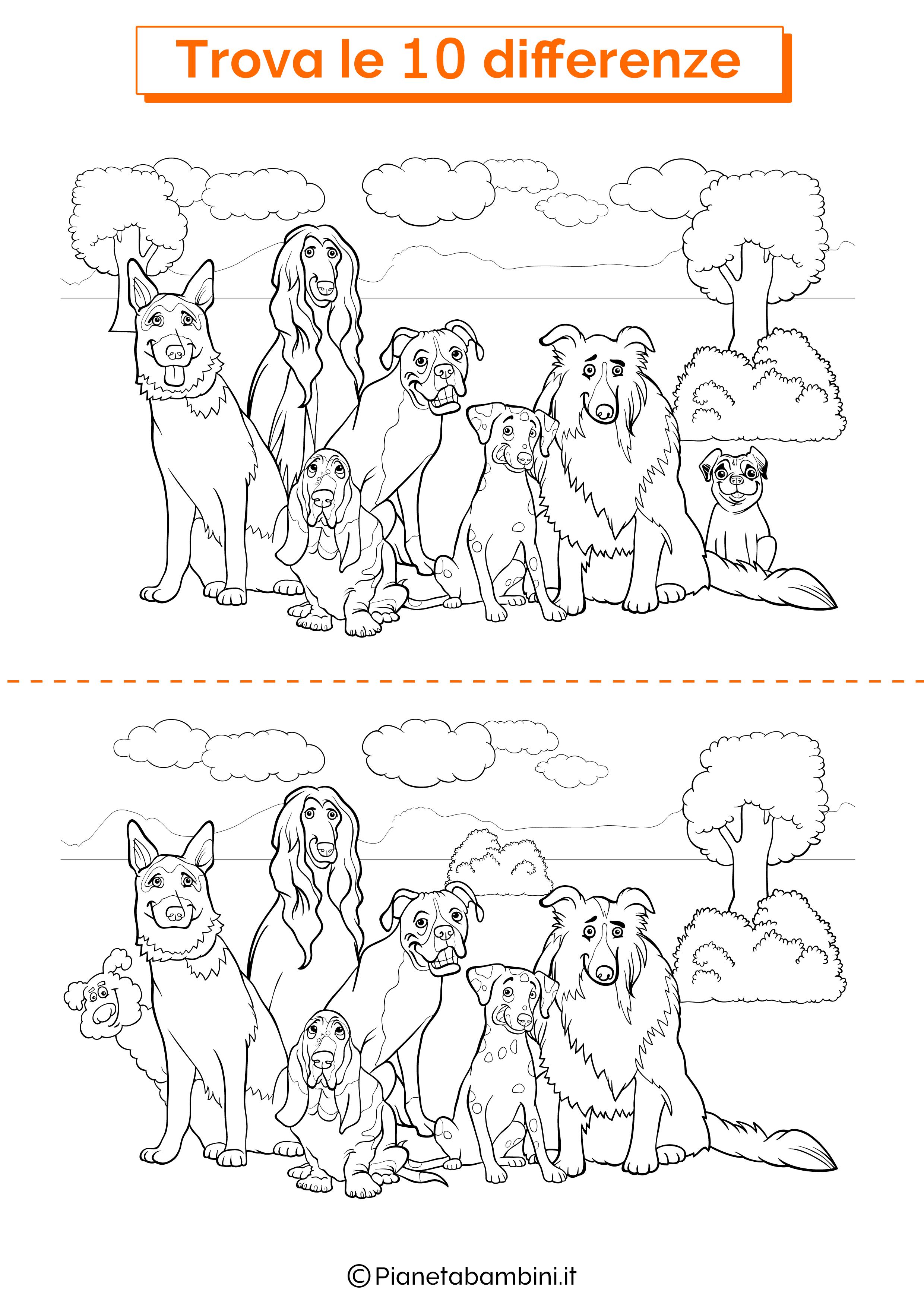 Disegno trova 10 differenze cani 3