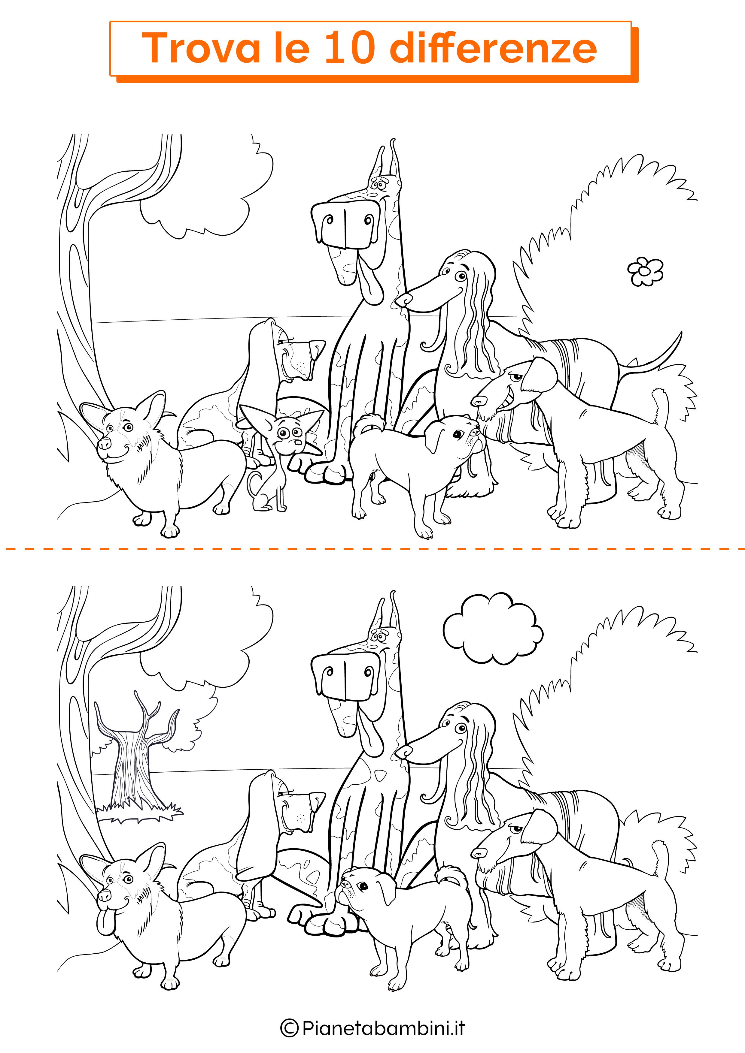 Disegno trova 10 differenze cani 4