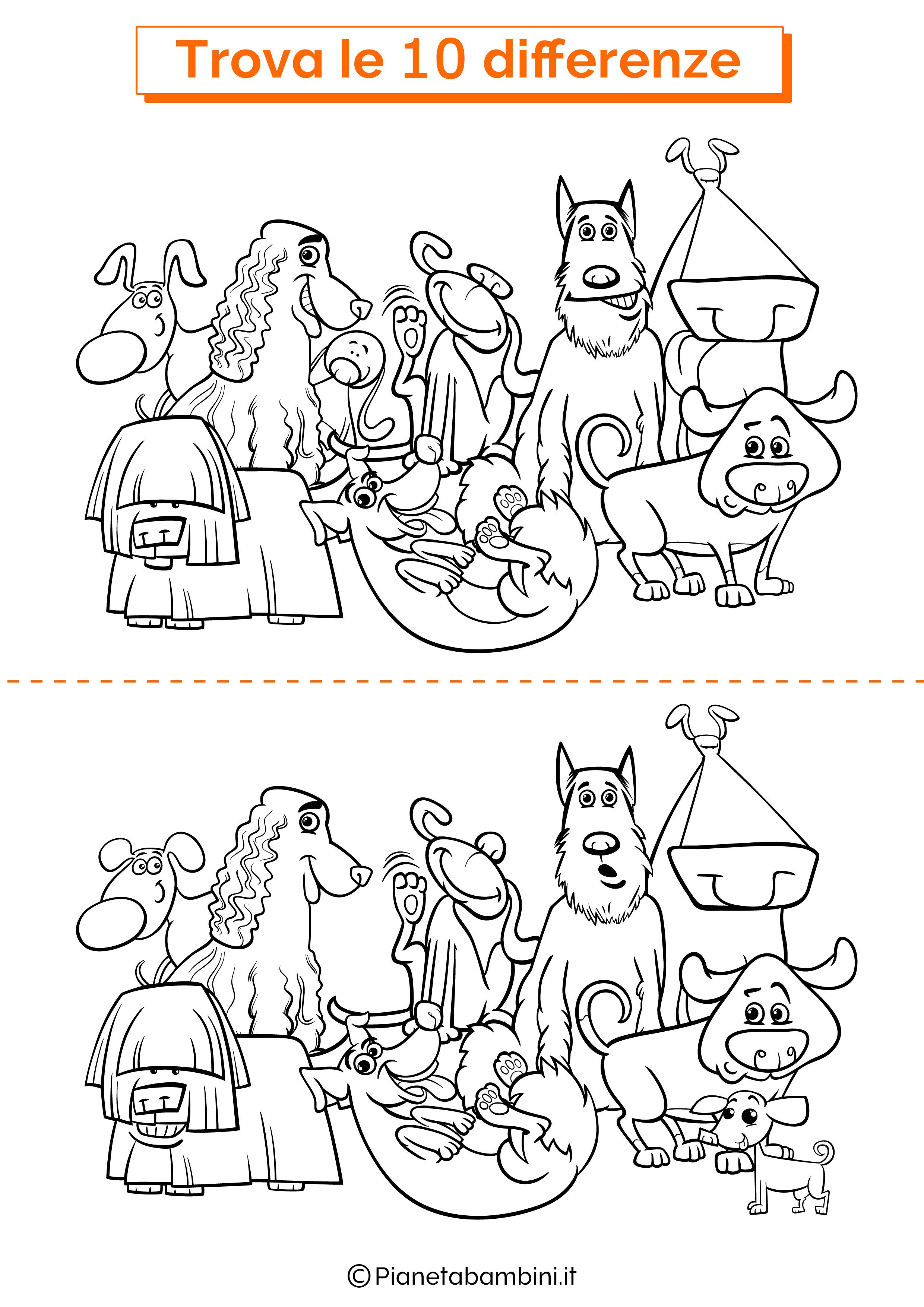 Disegno trova 10 differenze cani 5