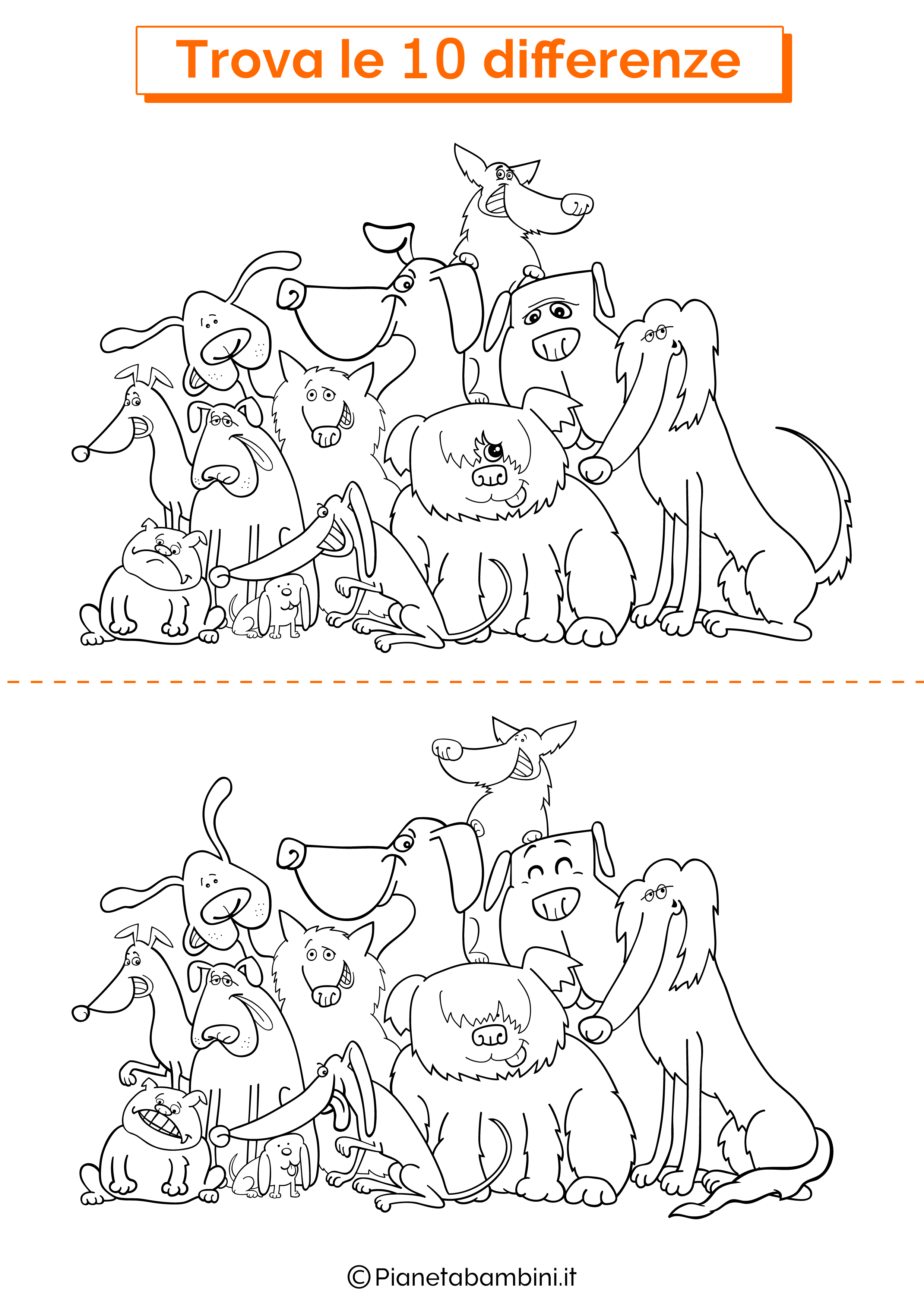 Disegno trova 10 differenze cani 6