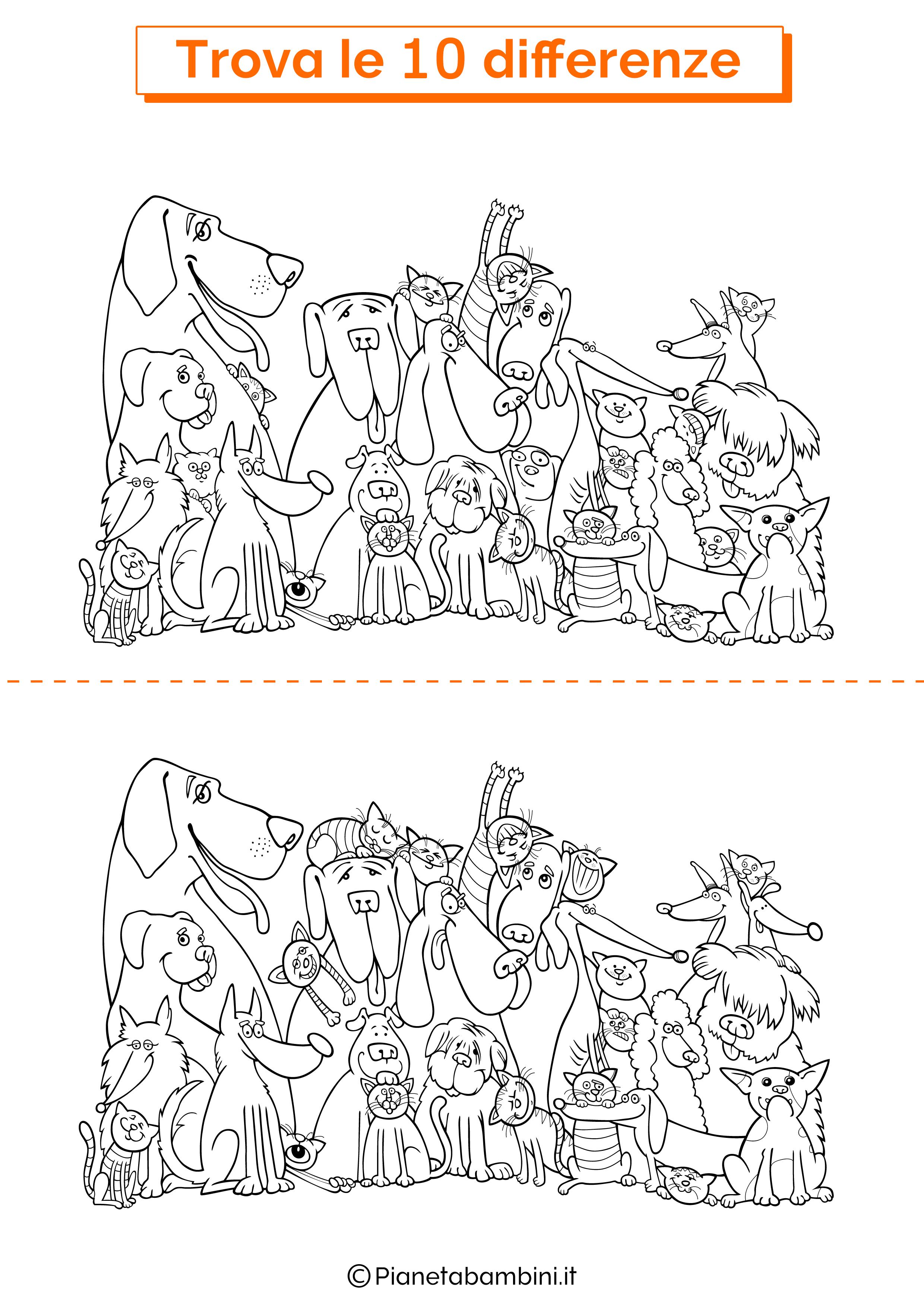 Disegno trova 10 differenze cani e gatti