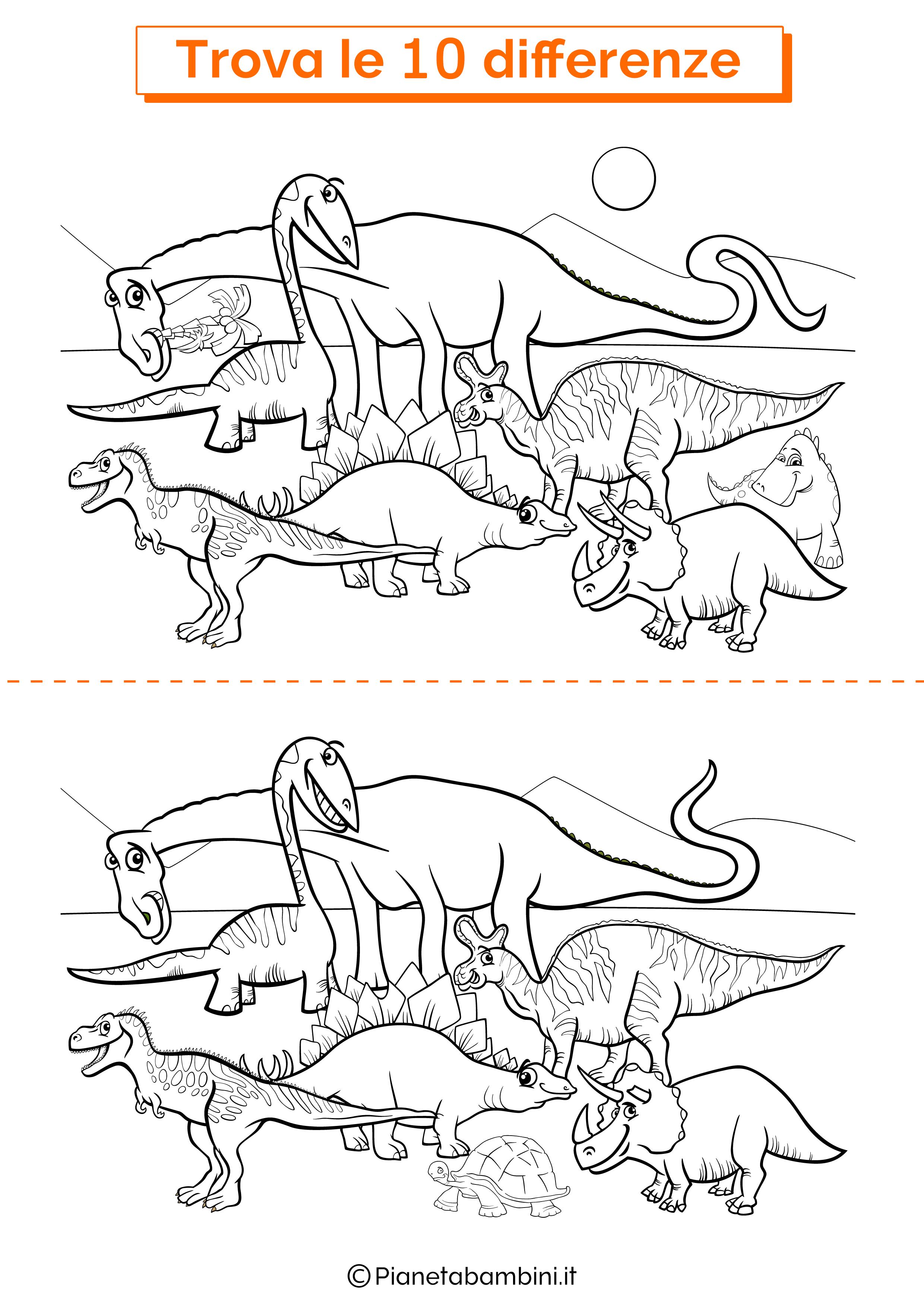 Disegno trova 10 differenze dinosauri
