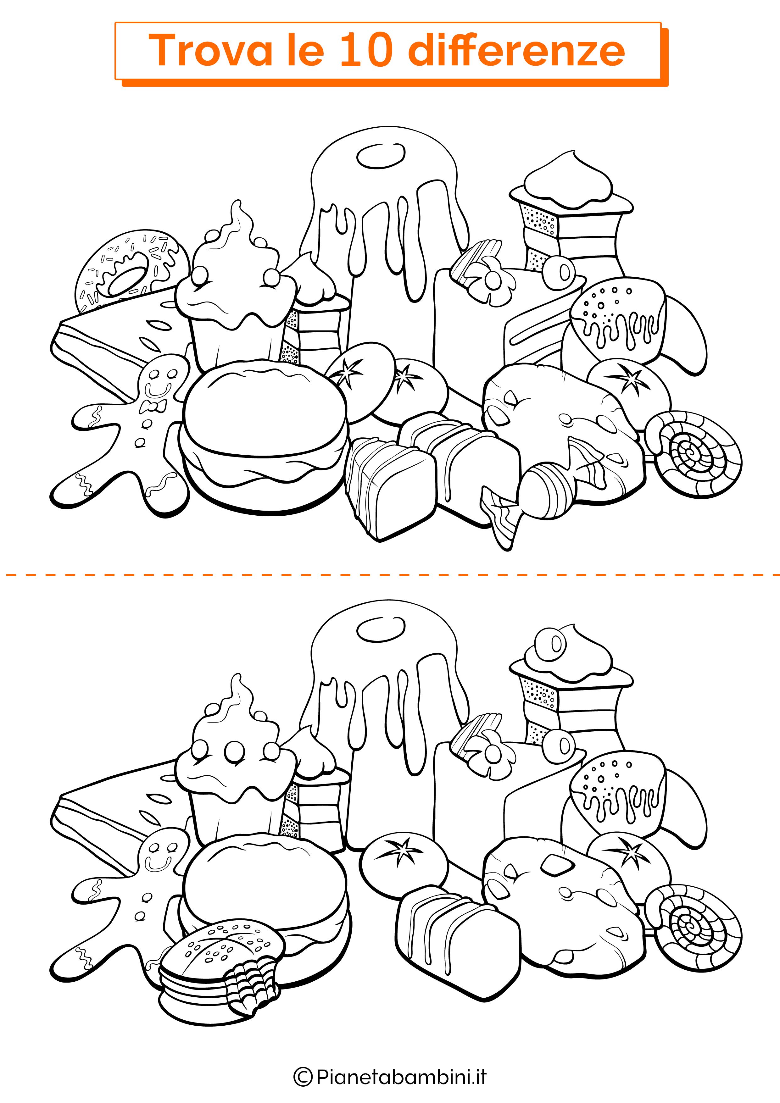 Disegno trova 10 differenze dolci