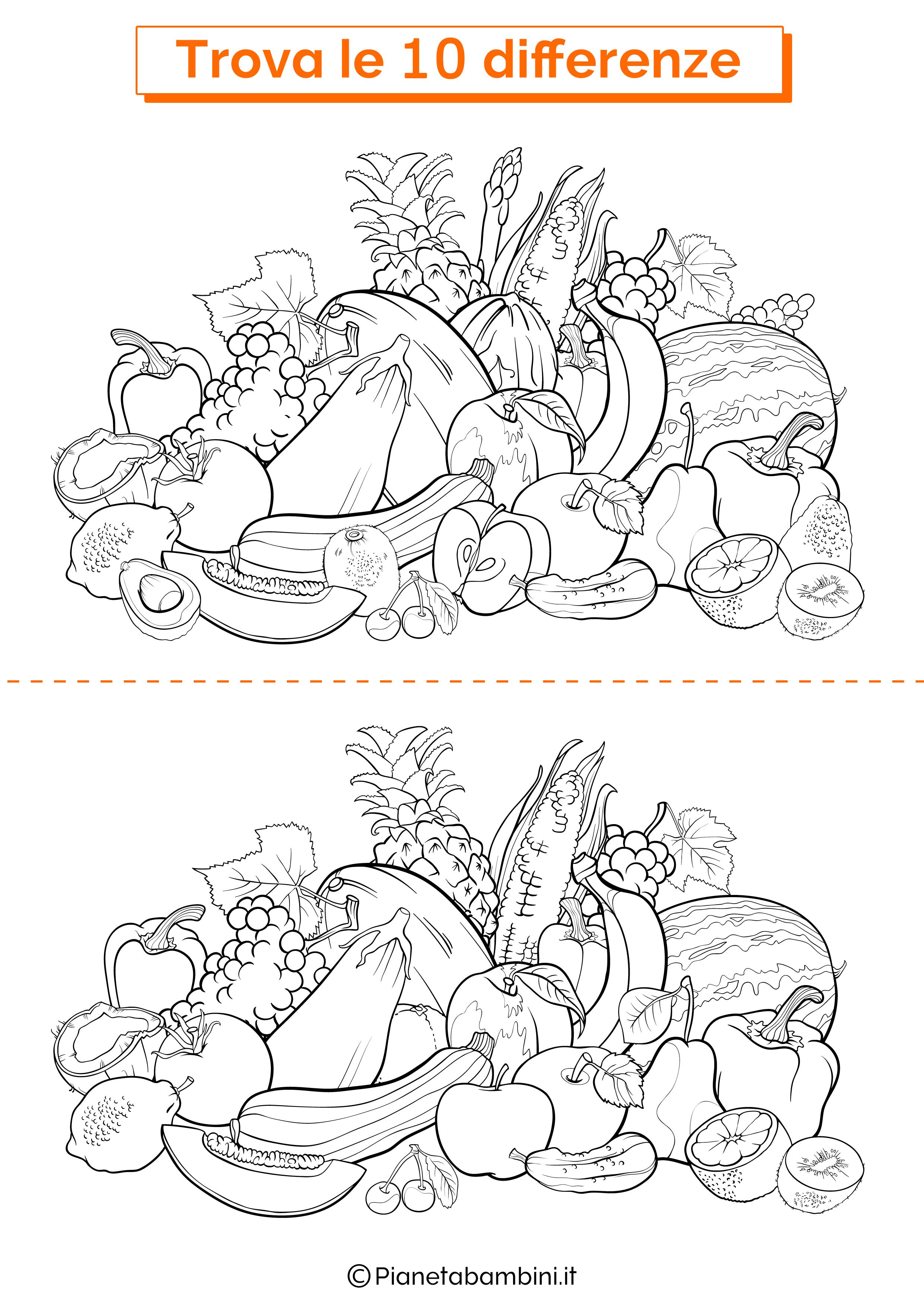 Disegno trova 10 differenze frutta 1