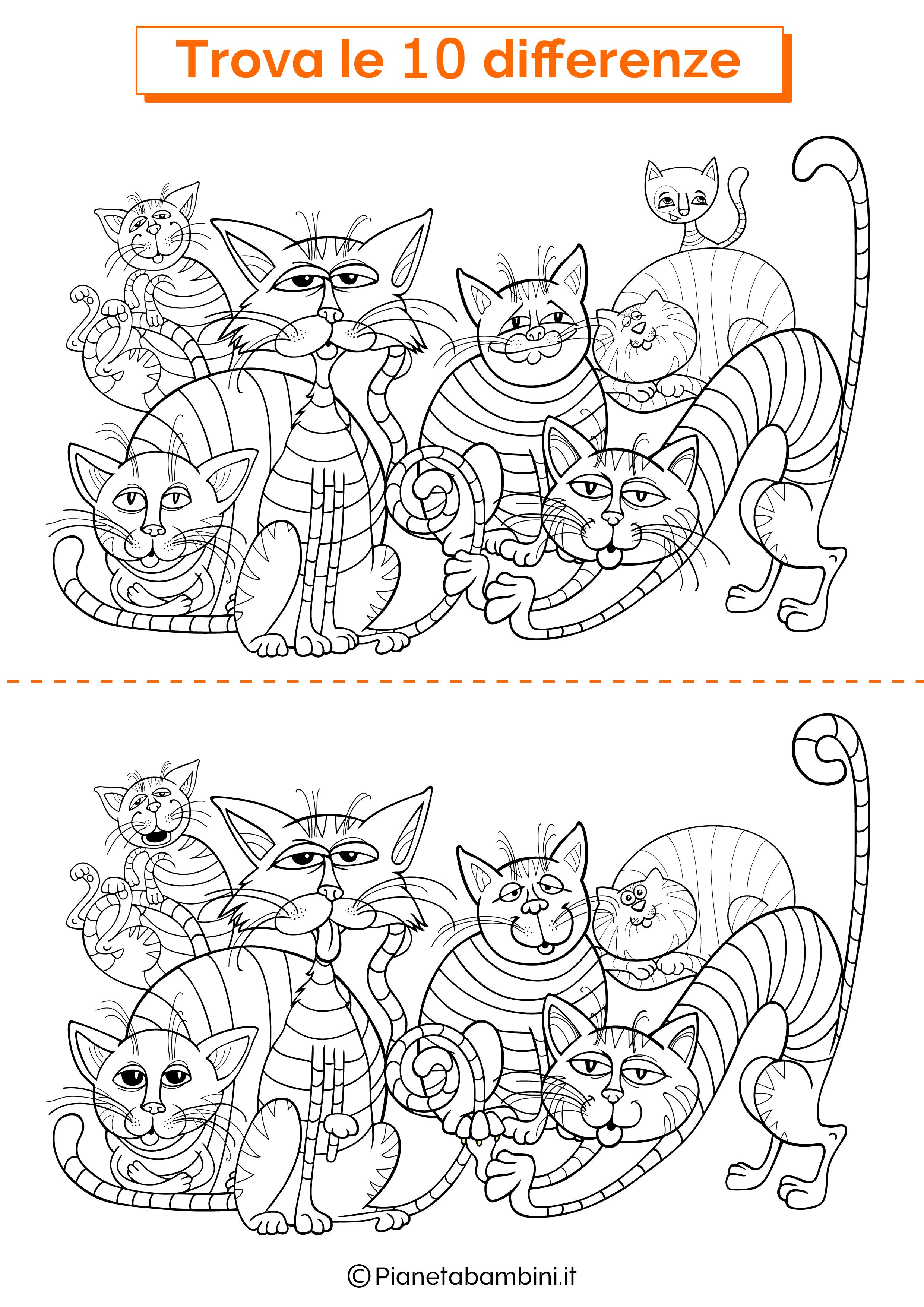 Disegno trova 10 differenze gatti 1
